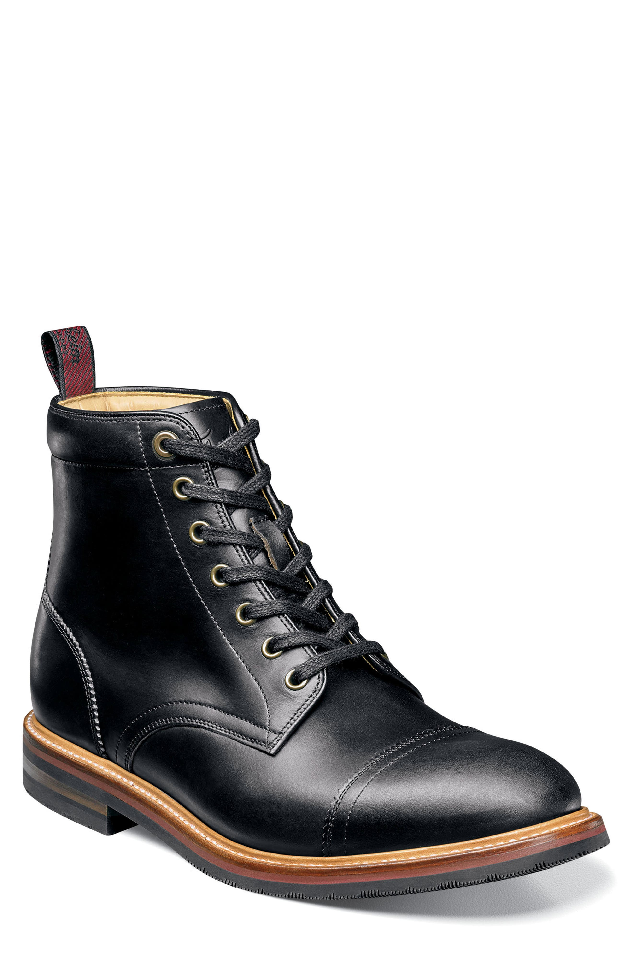 Founcry Cap Toe Boot,                             Main thumbnail 1, color,                             BLACK LEATHER