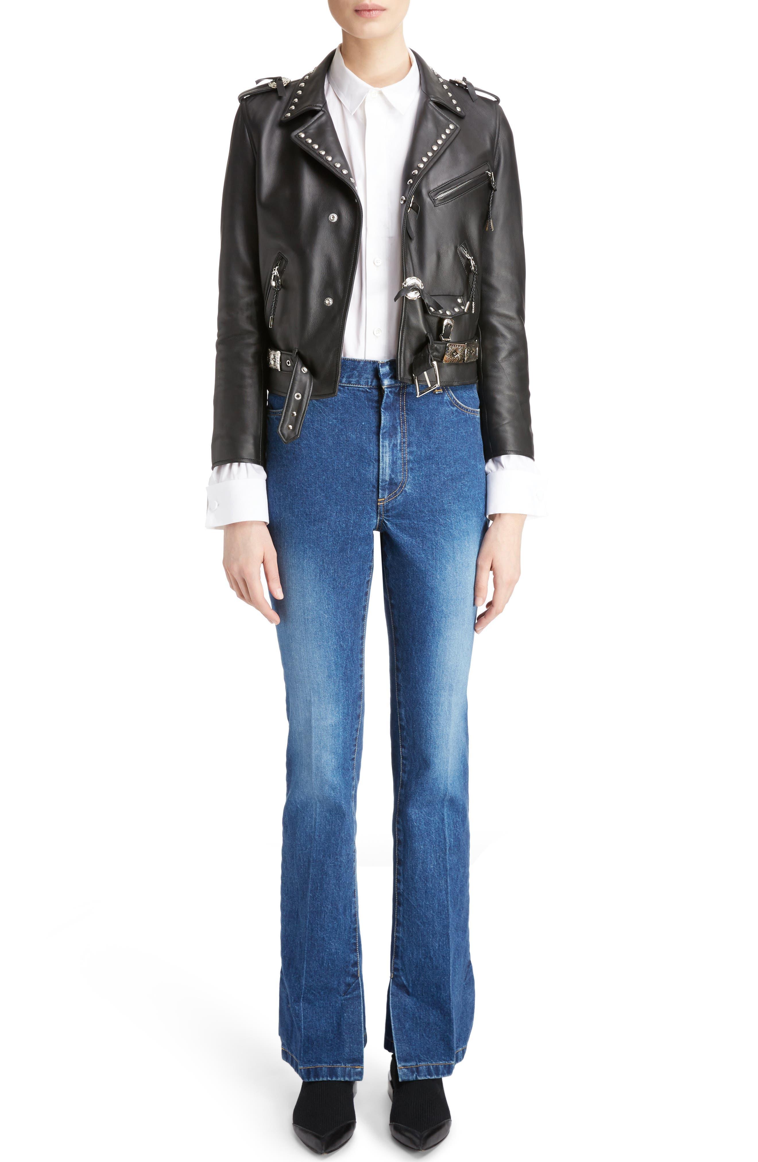 Studded Leather Moto Jacket,                         Main,                         color, 001