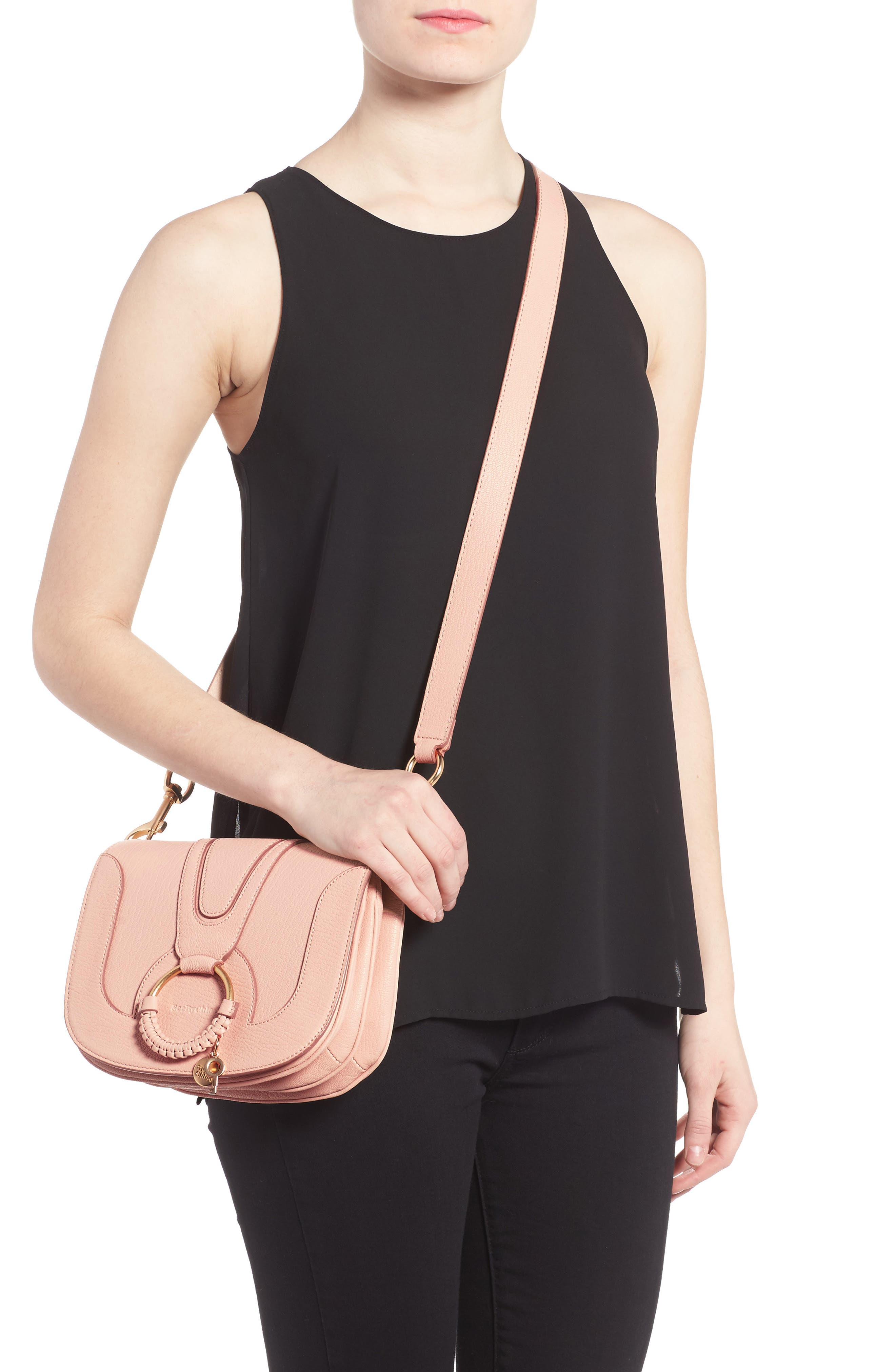 Hana Small Leather Crossbody Bag,                             Alternate thumbnail 16, color,