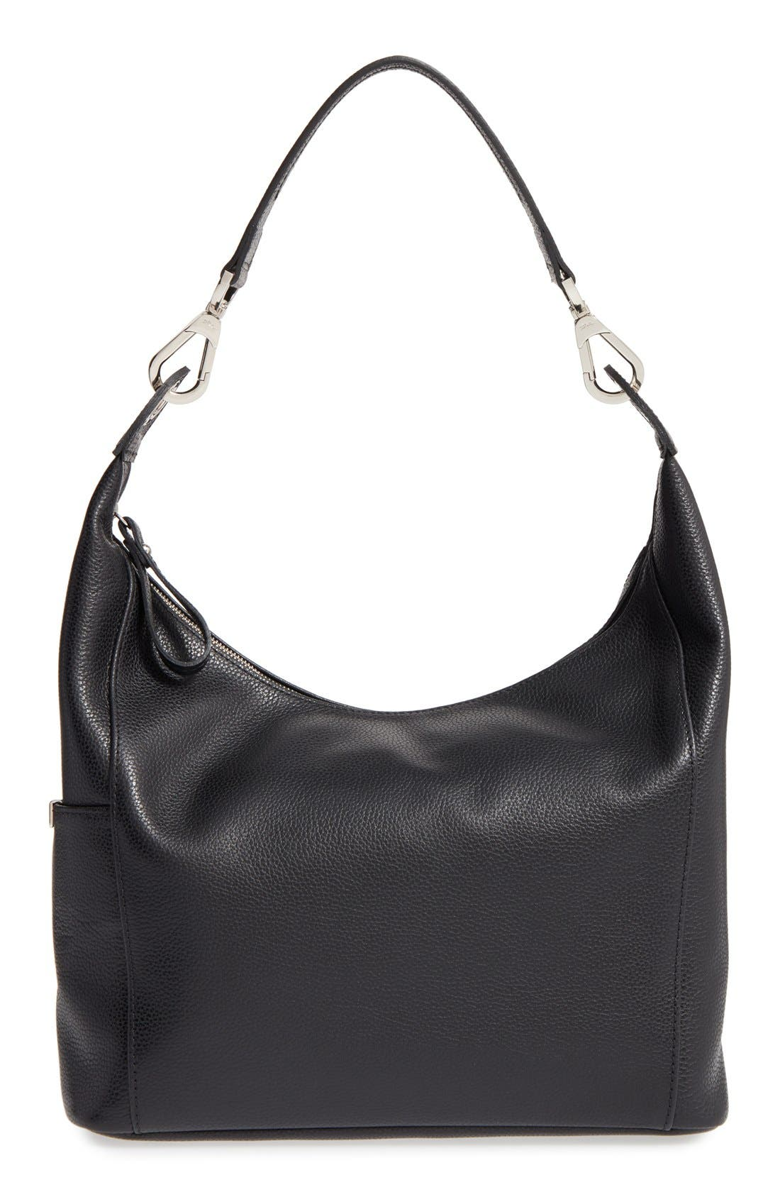 'Le Foulonne' Leather Hobo Bag,                         Main,                         color, BLACK