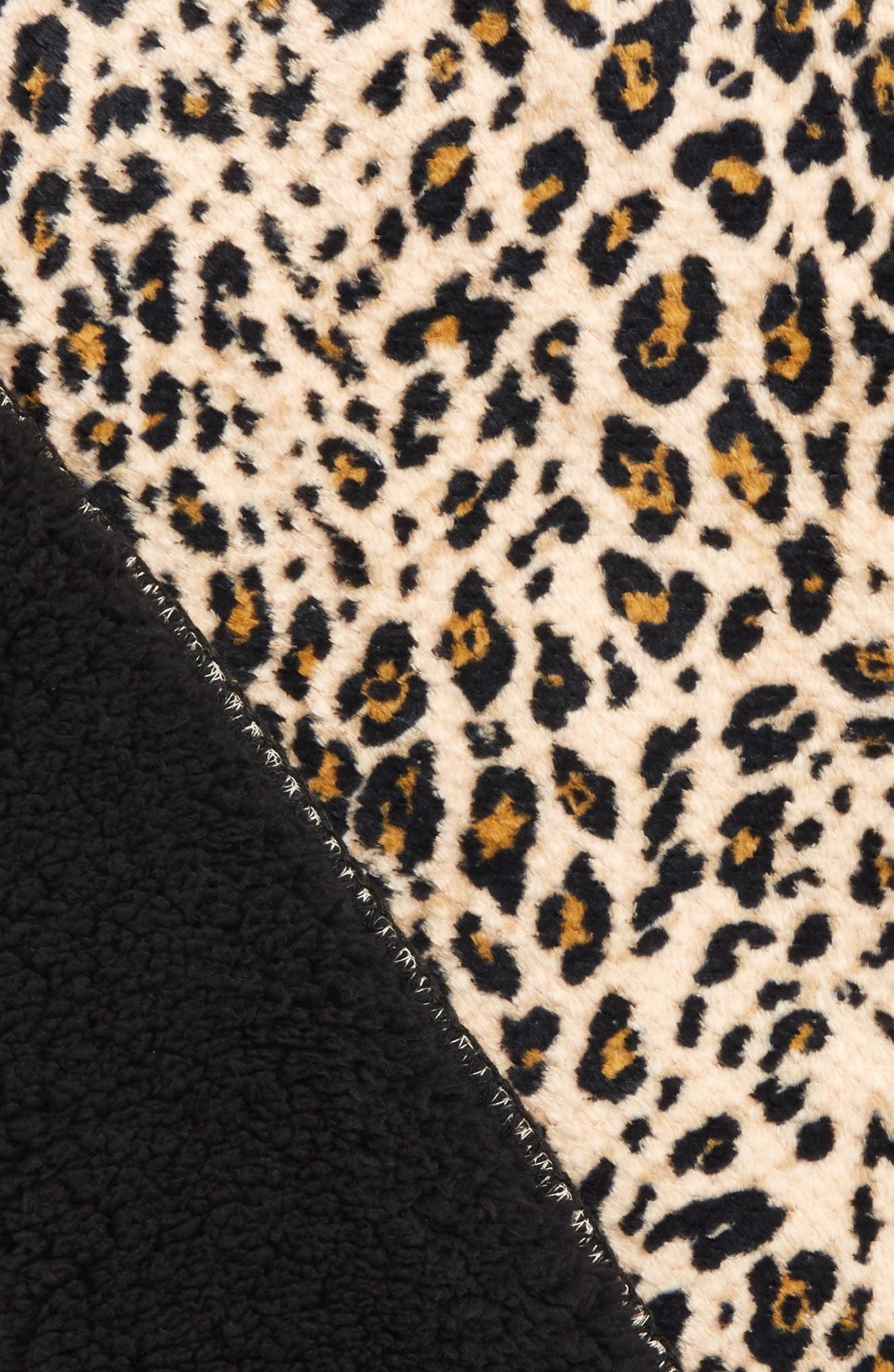 Leopard Print Faux Shearling Blanket,                             Alternate thumbnail 2, color,                             250