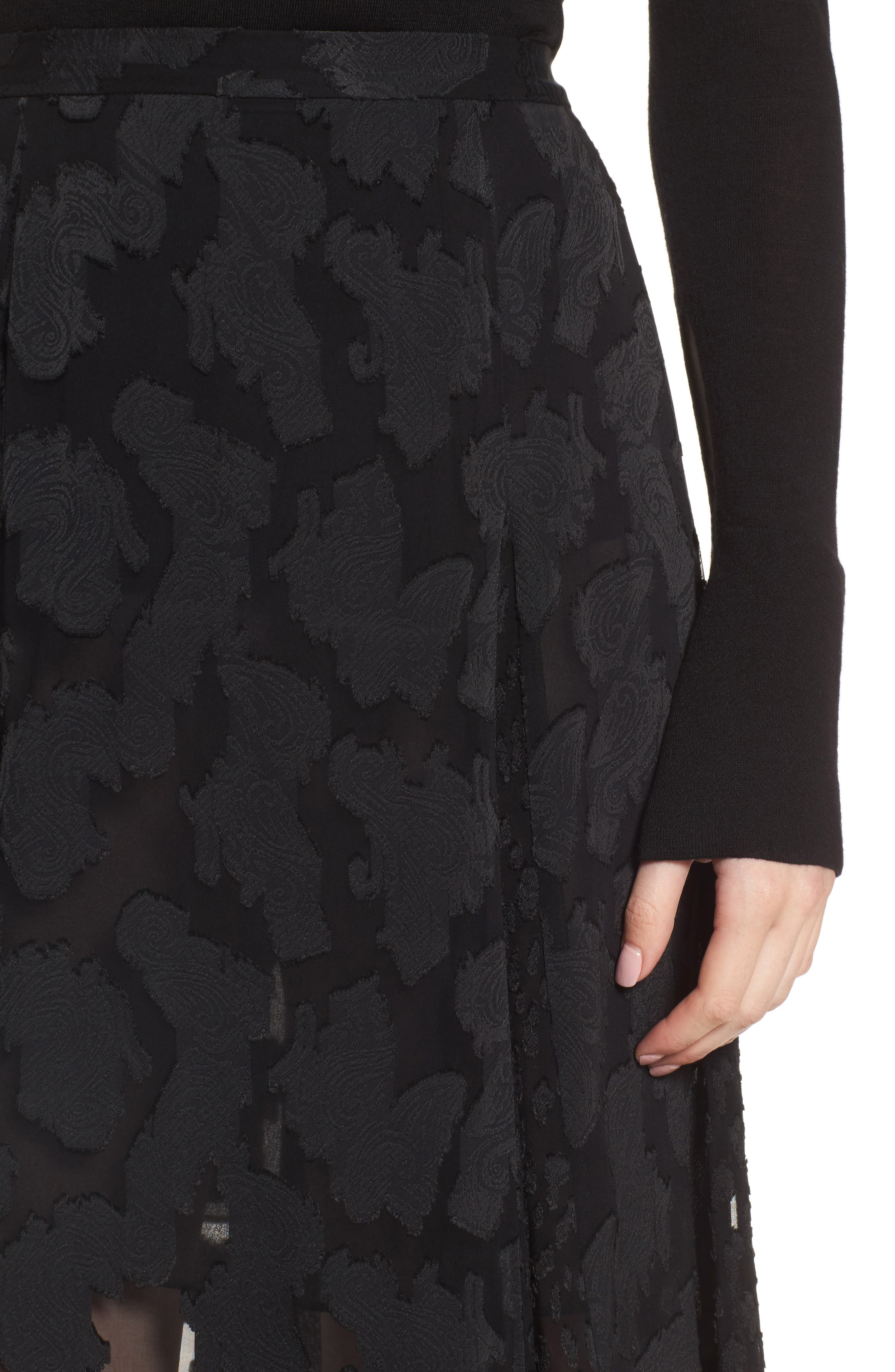 Clip Jacquard Godet Skirt,                             Alternate thumbnail 7, color,