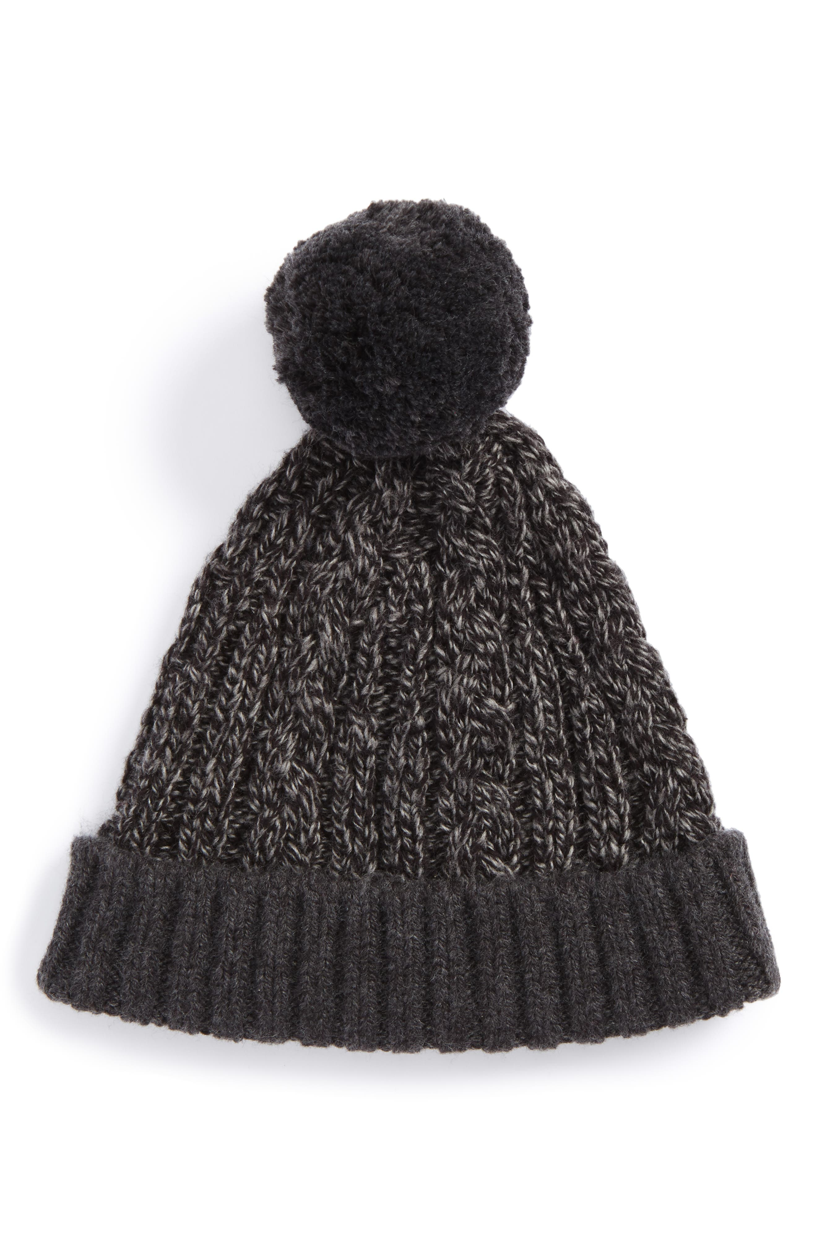 Cable Knit Pompom Hat,                             Main thumbnail 1, color,