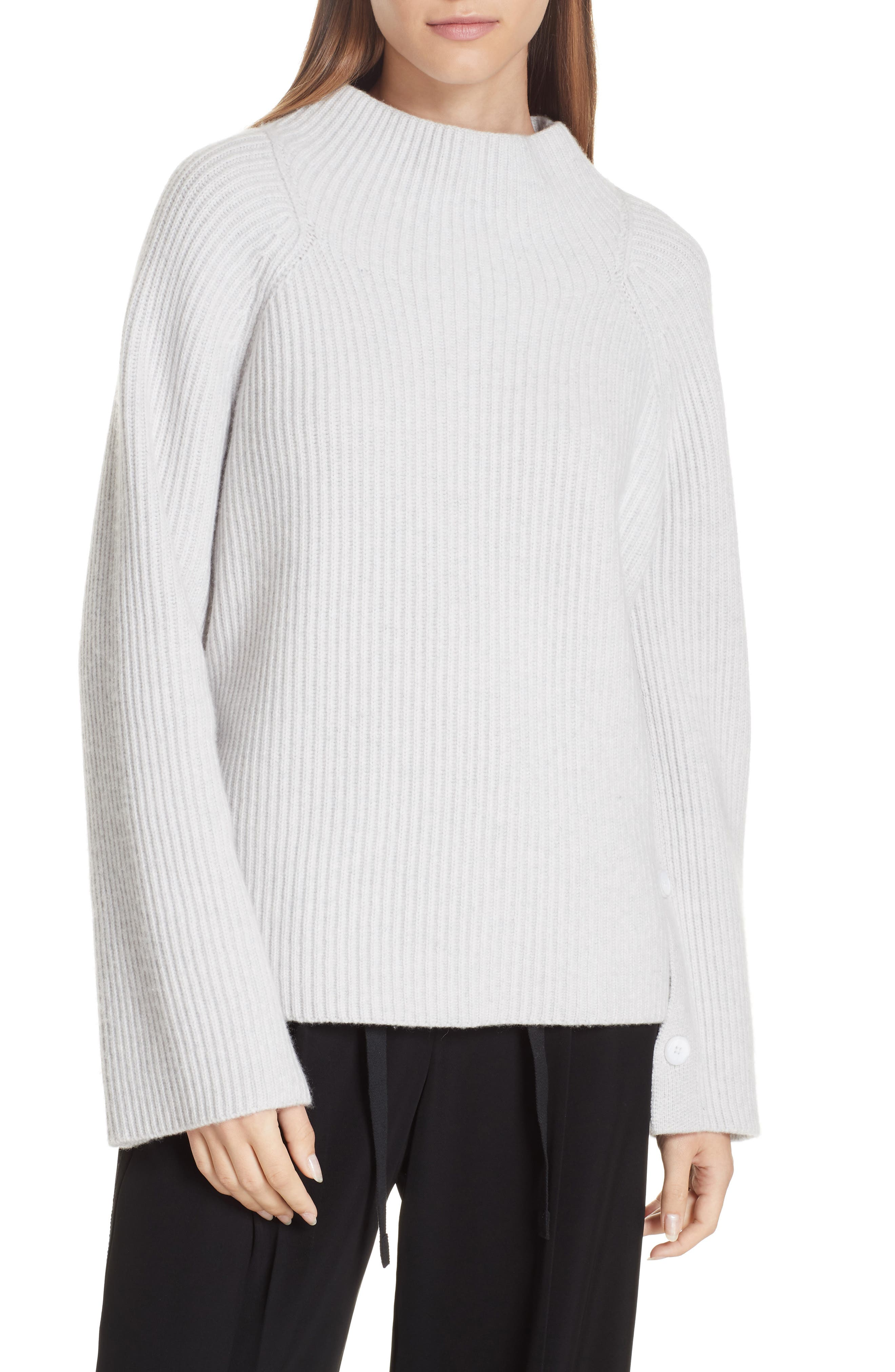 Button Cuff Funnel Neck Sweater,                             Main thumbnail 1, color,                             LIGHT HEATHER GREY