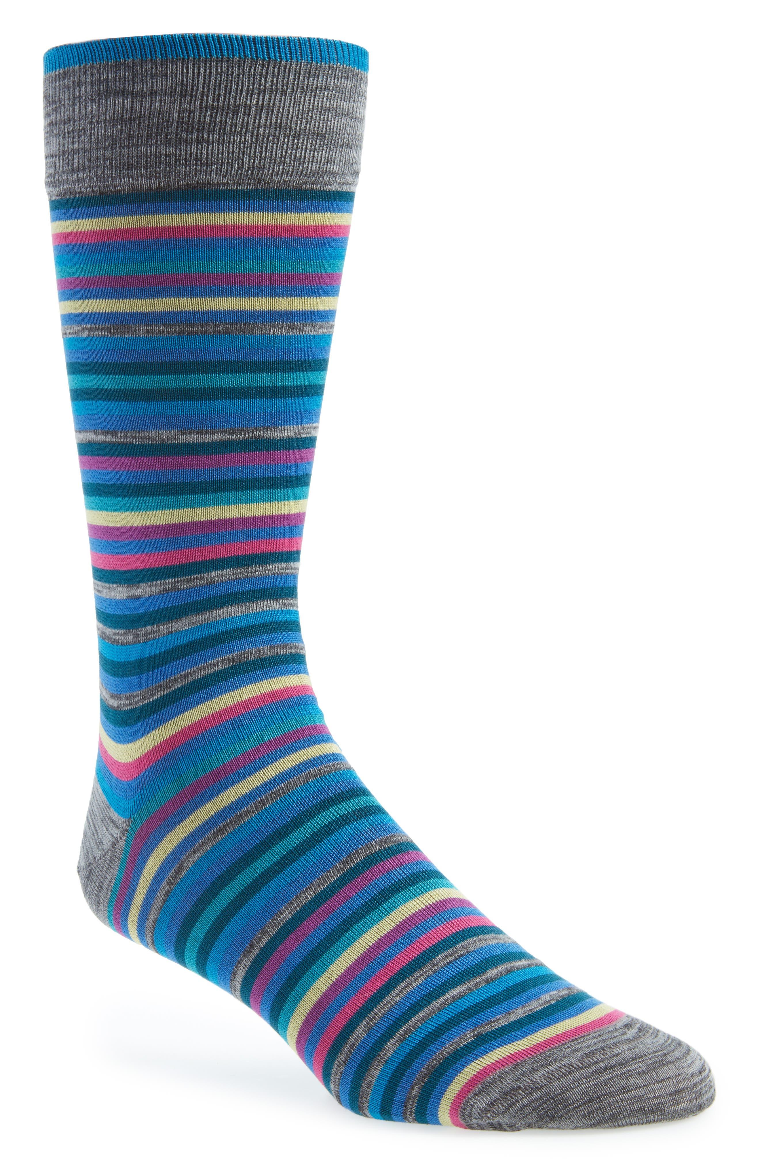 Stripe Mercerized Cotton Blend Socks,                         Main,                         color, 040
