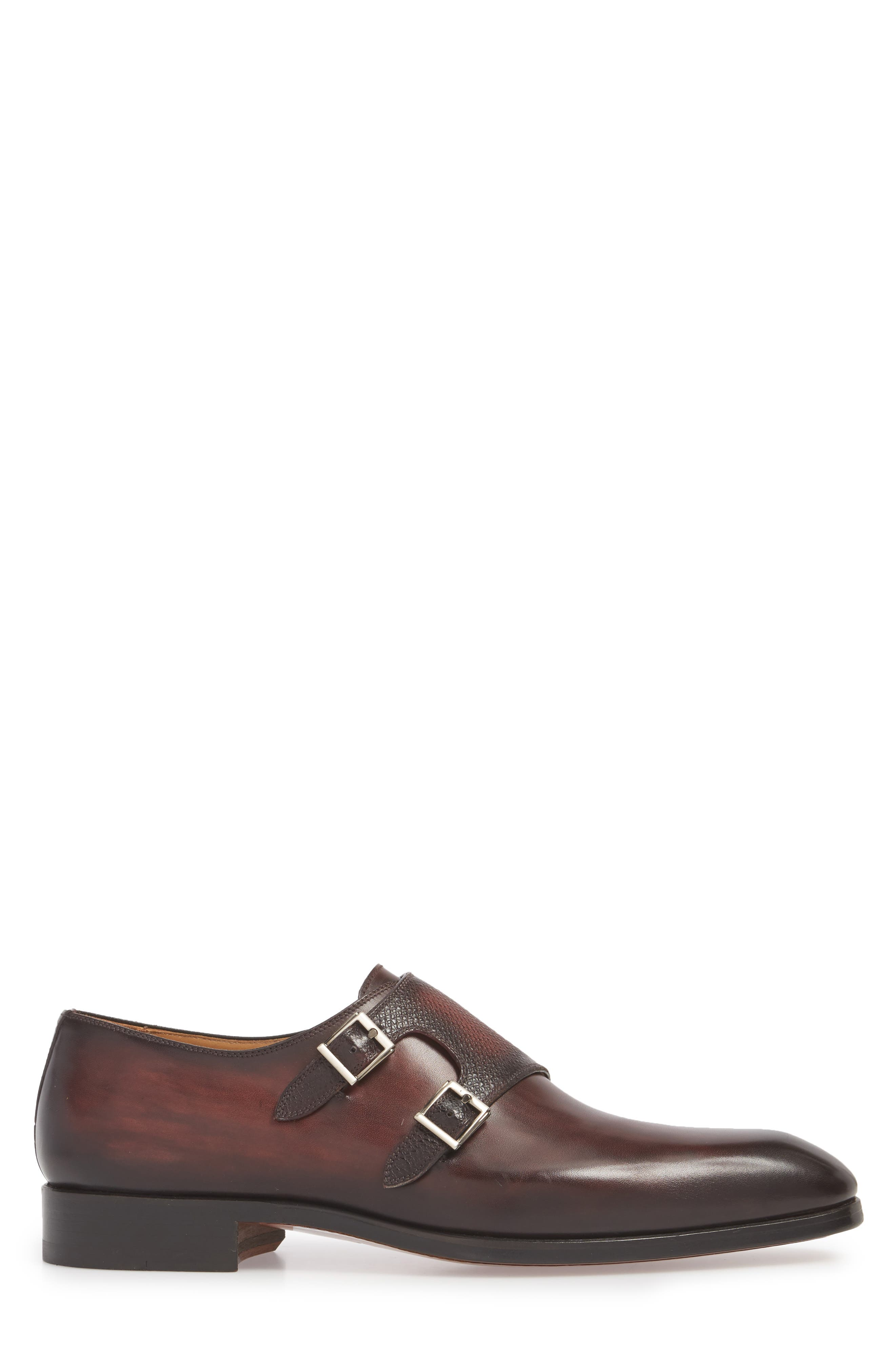 Arlo Pebbled Monk Shoe,                             Alternate thumbnail 3, color,                             BURGUNDY LEATHER