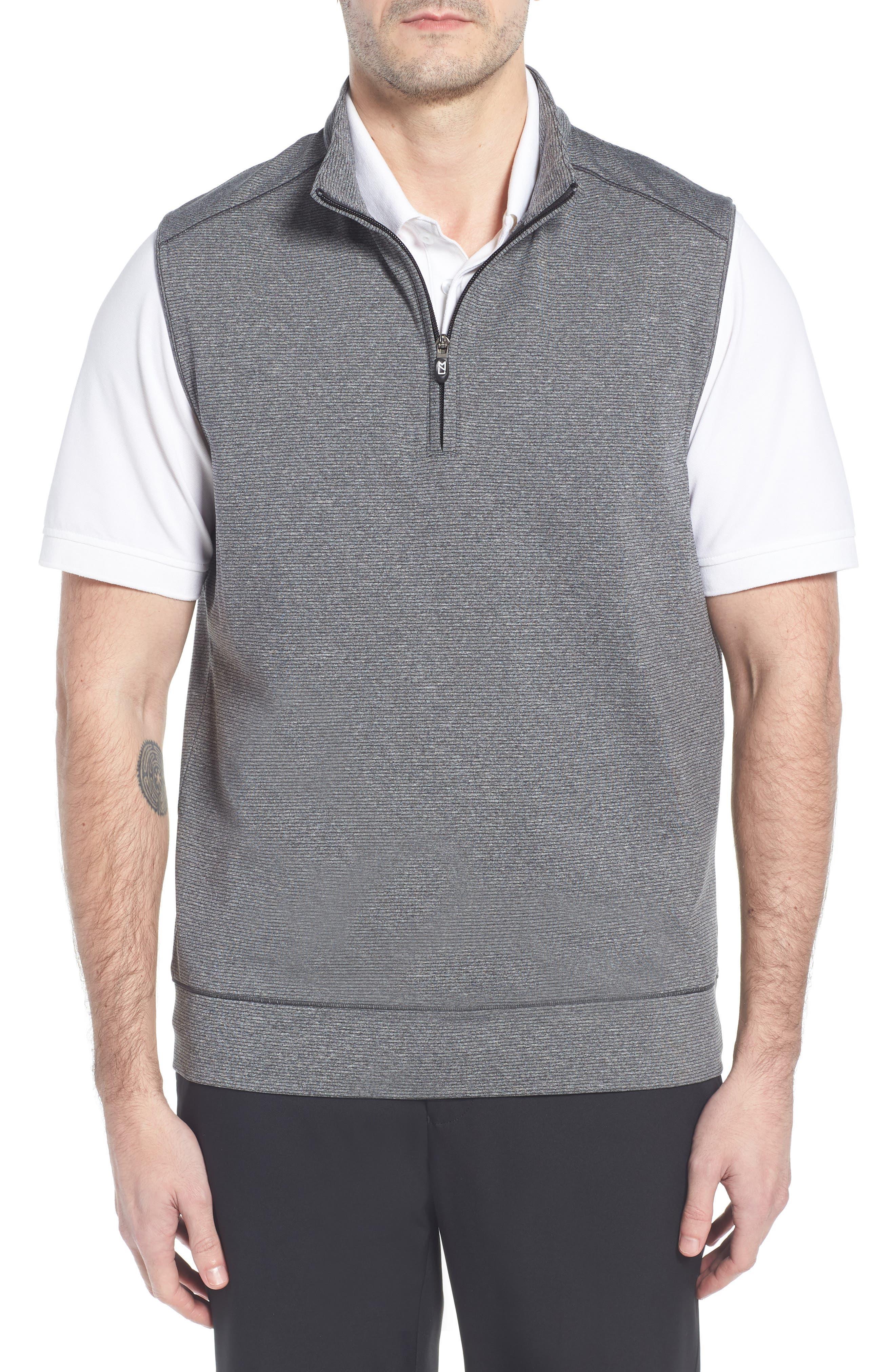 Shoreline Quarter Zip Vest,                         Main,                         color, CHARCOAL HEATHER