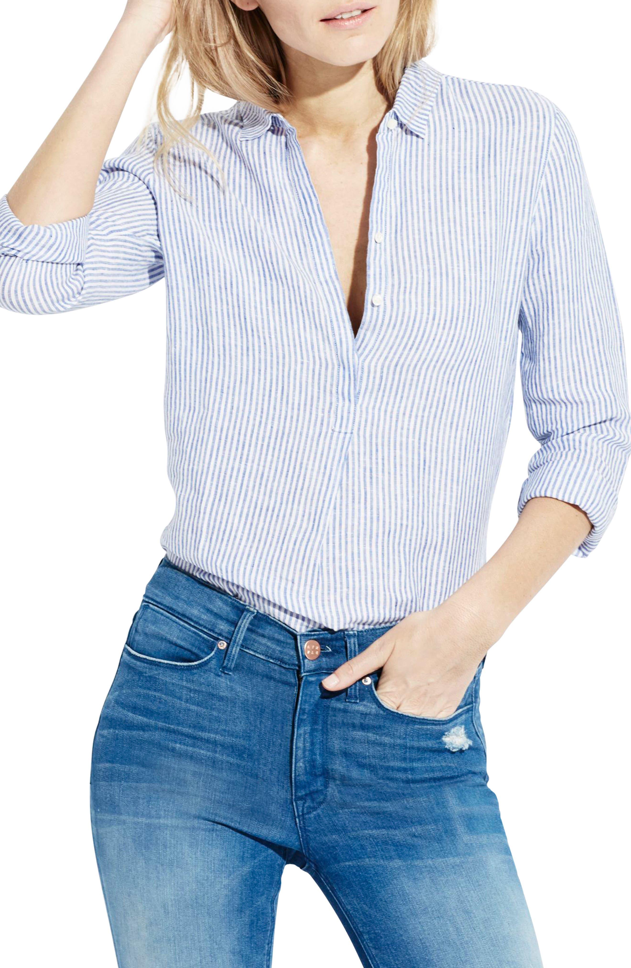 The Striped Easy Linen Shirt,                             Main thumbnail 1, color,                             414
