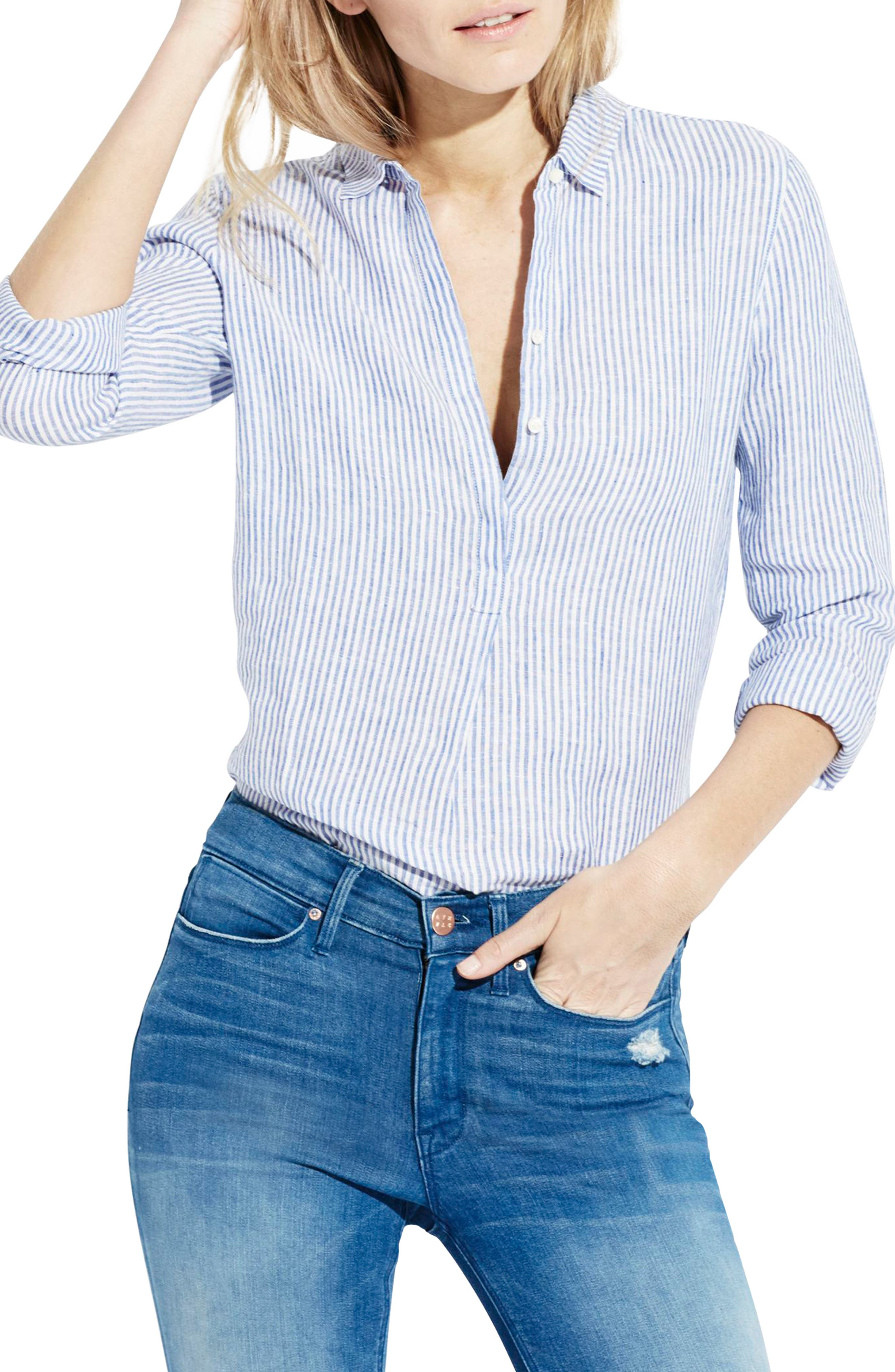 The Striped Easy Linen Shirt,                         Main,                         color, 414