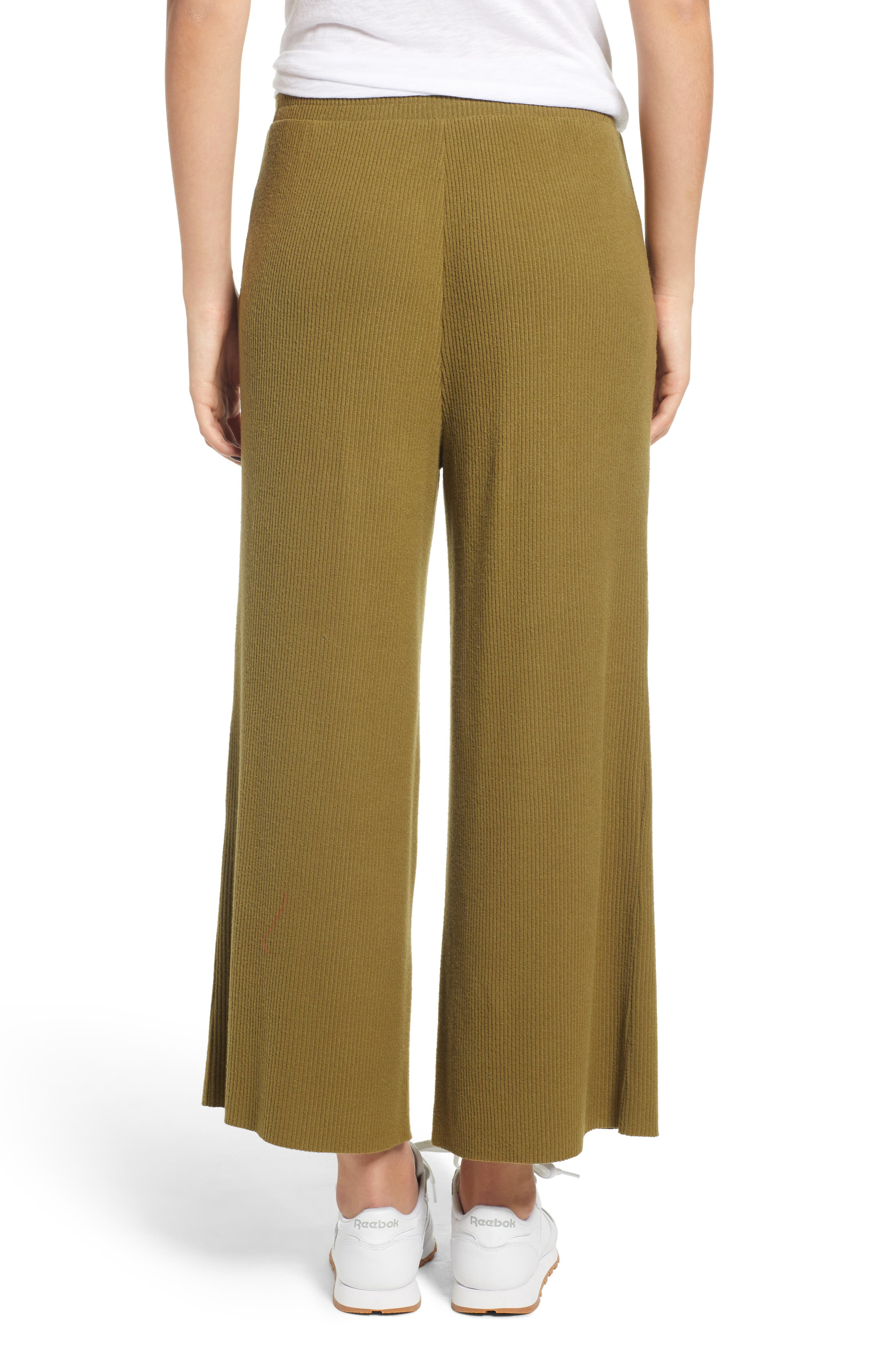 Ribbed Wide Leg Crop Pants,                             Alternate thumbnail 2, color,                             OLIVE ITALY