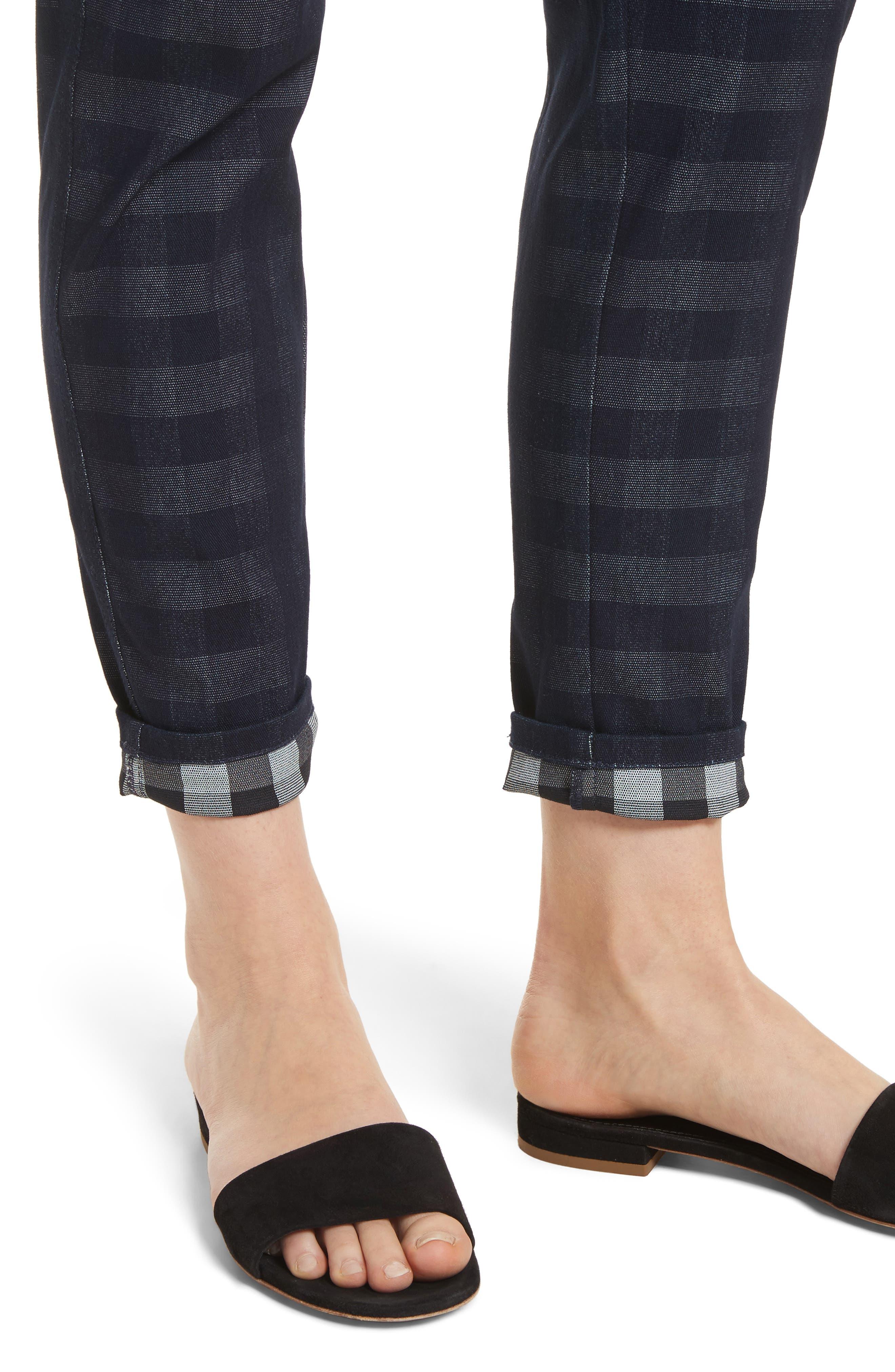 Gingham Skinny Jeans,                             Alternate thumbnail 4, color,