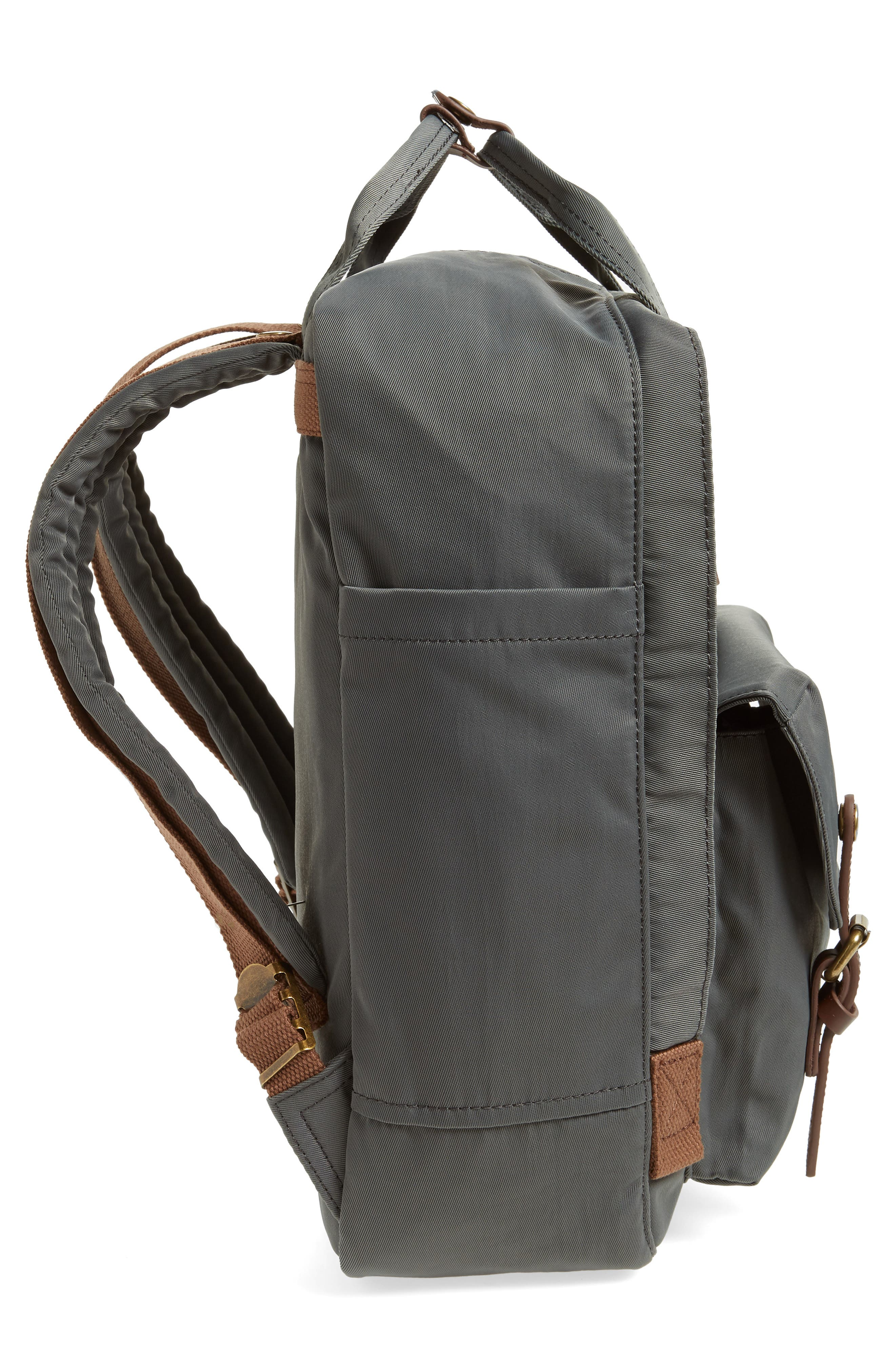Macaroon Water Resistant Backpack,                             Alternate thumbnail 5, color,                             CHARCOAL