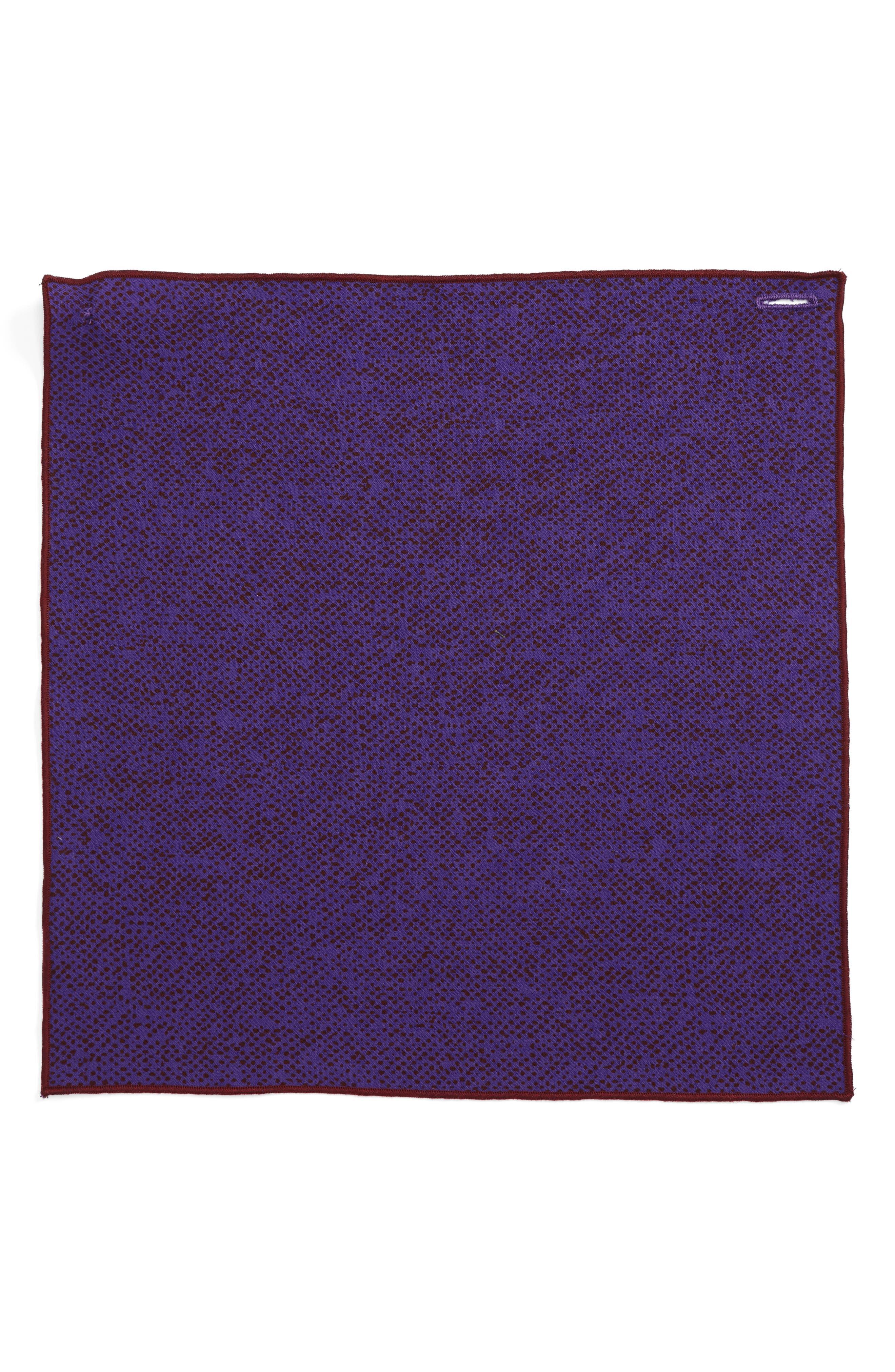 Purple Dot Wool Pocket Square,                             Alternate thumbnail 2, color,                             500