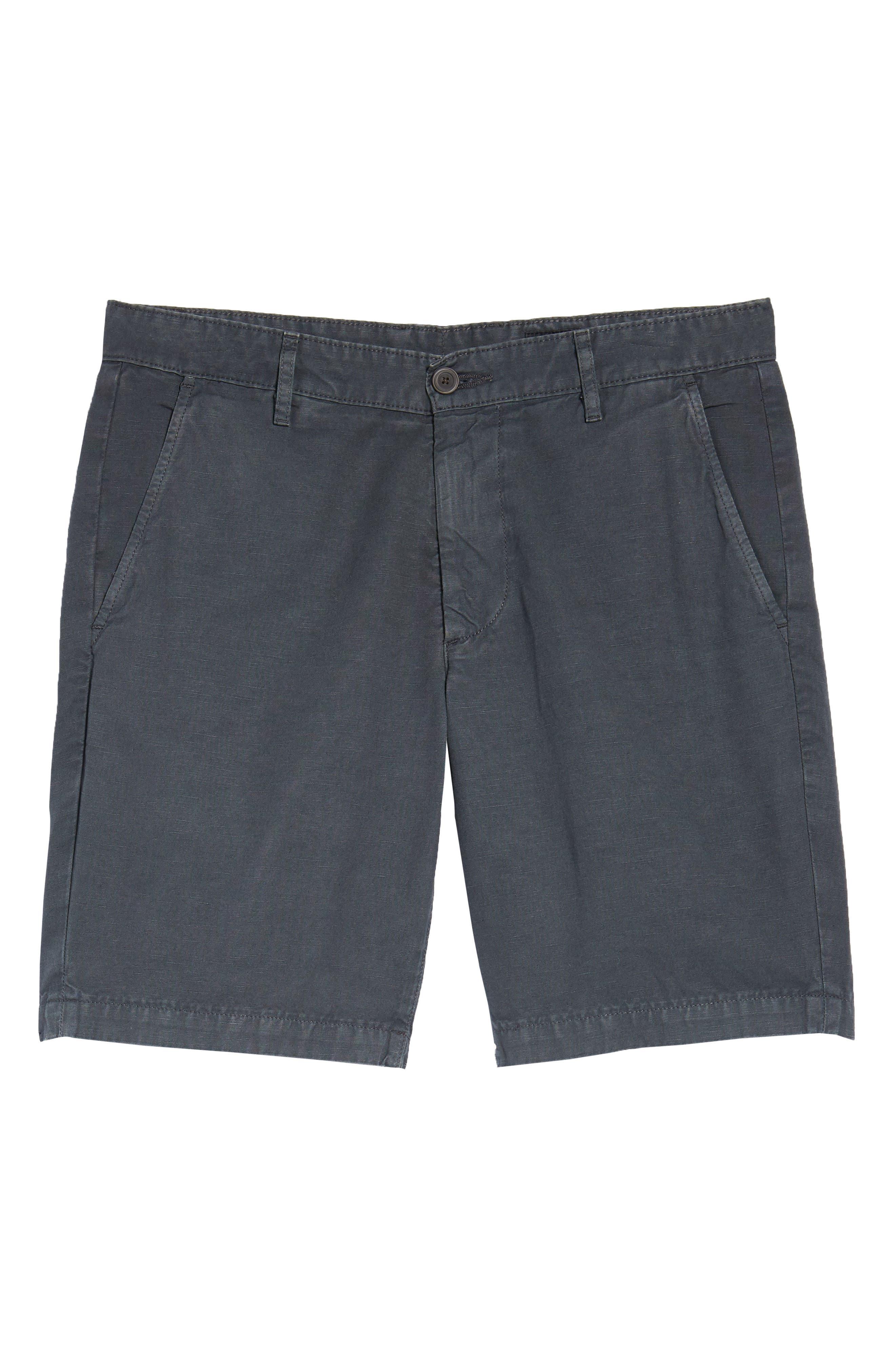 Wanderer Slim Fit Cotton & Linen Shorts,                             Alternate thumbnail 6, color,                             SULFUR SMOKE GREY