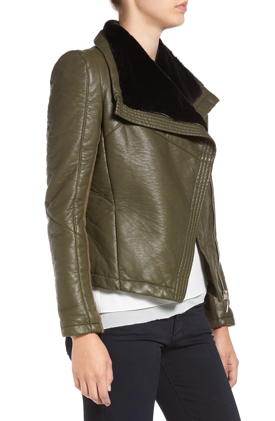 Faux Leather Jacket with Faux Shearling Trim,                             Alternate thumbnail 6, color,