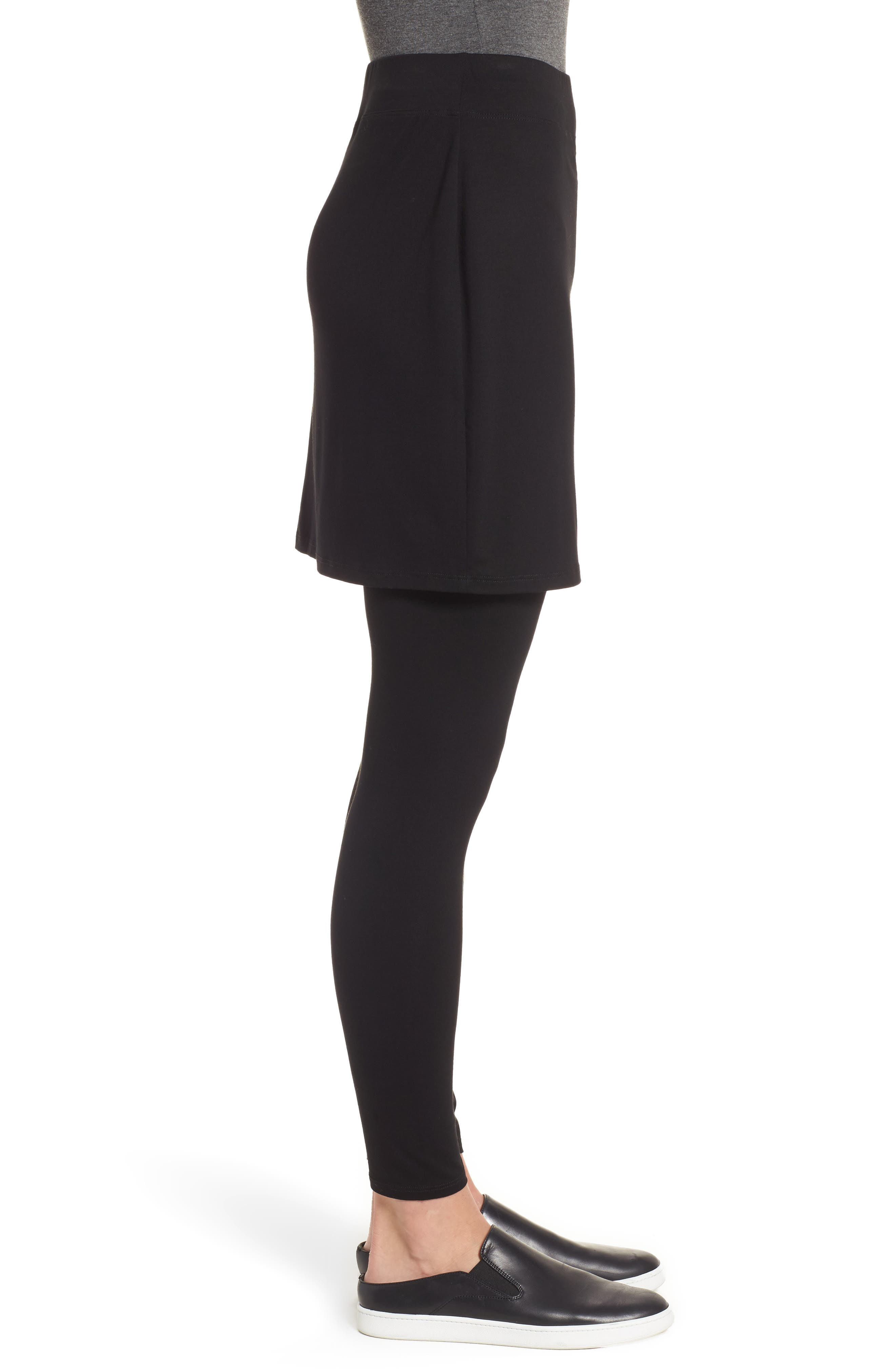 Skirted Ankle Leggings,                             Alternate thumbnail 4, color,                             BLACK