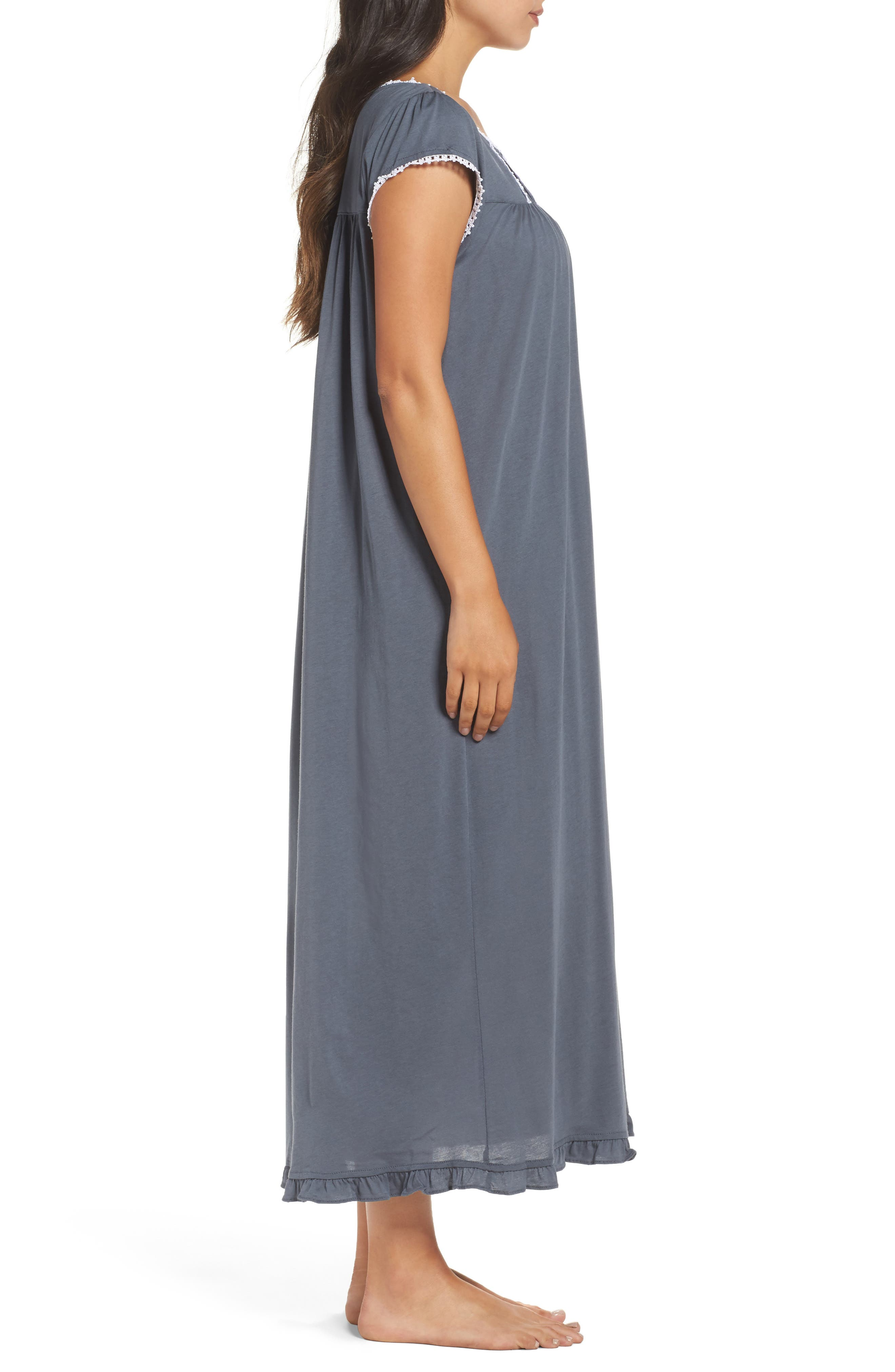 Cotton & Modal Ballet Nightgown,                             Alternate thumbnail 3, color,                             001