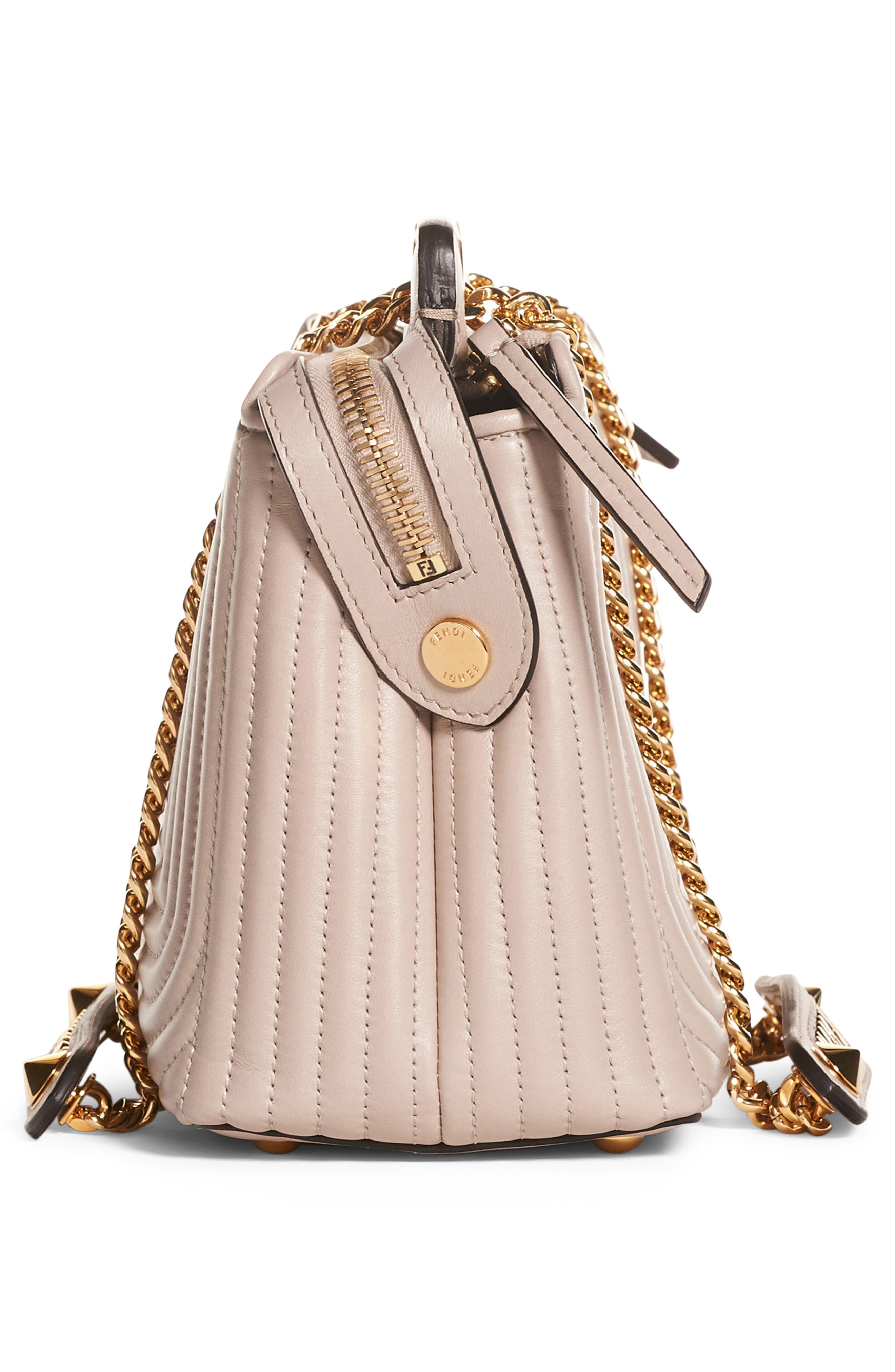 DOTCOM Click Quilted Leather Satchel,                             Alternate thumbnail 4, color,                             DUST GREY