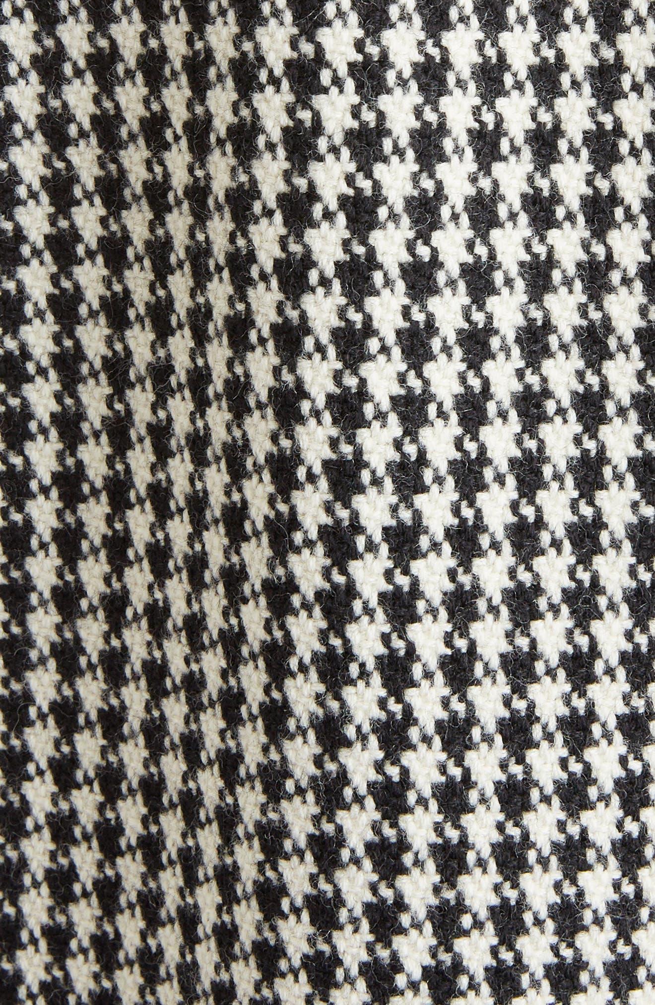 Houndstooth Wool Coat,                             Alternate thumbnail 5, color,                             BLACK NATURAL