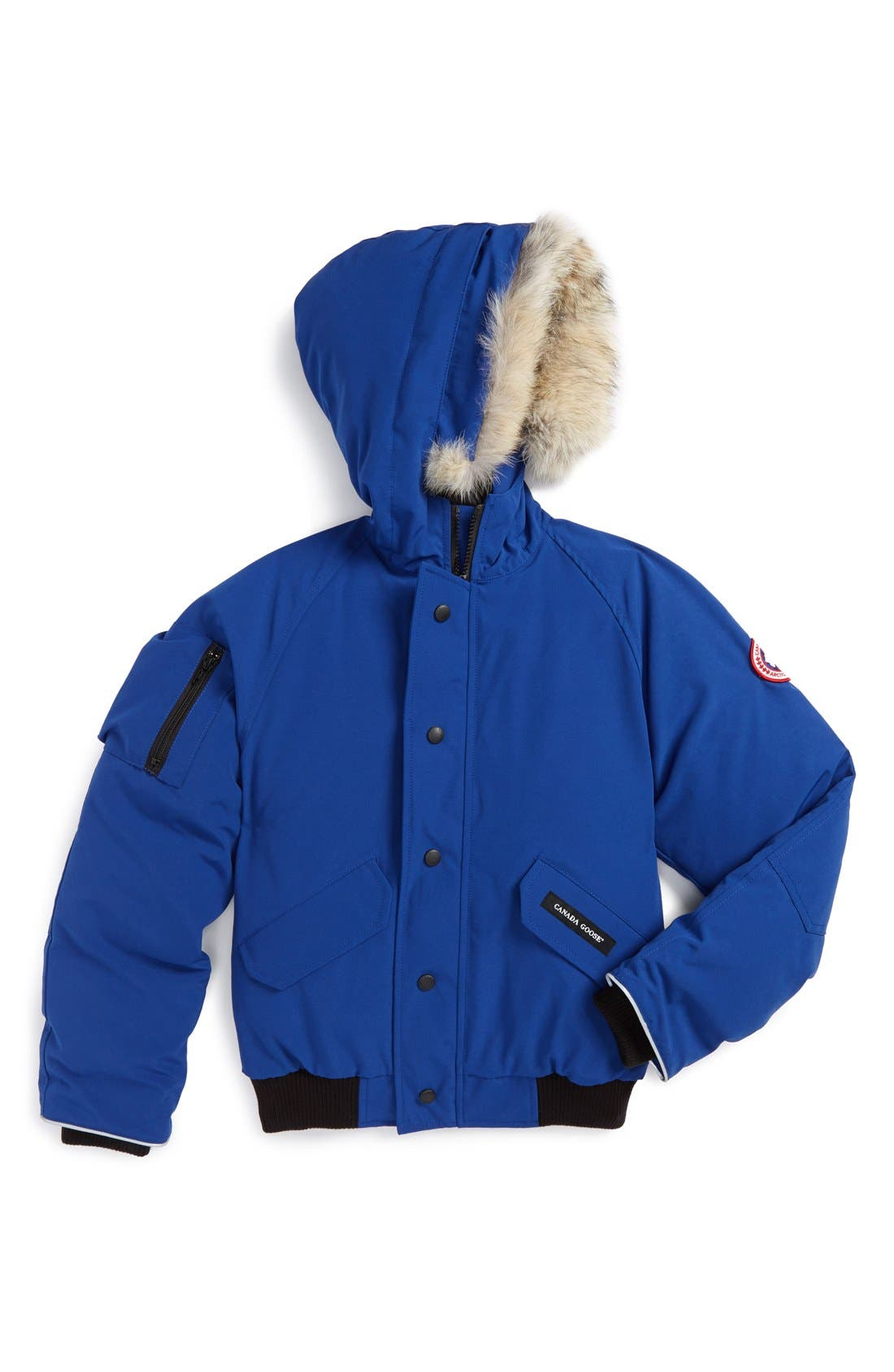Kids Canada Goose Rundle Down Bomber Jacket With Genuine Coyote Fur Trim Size M (1012)  Blue