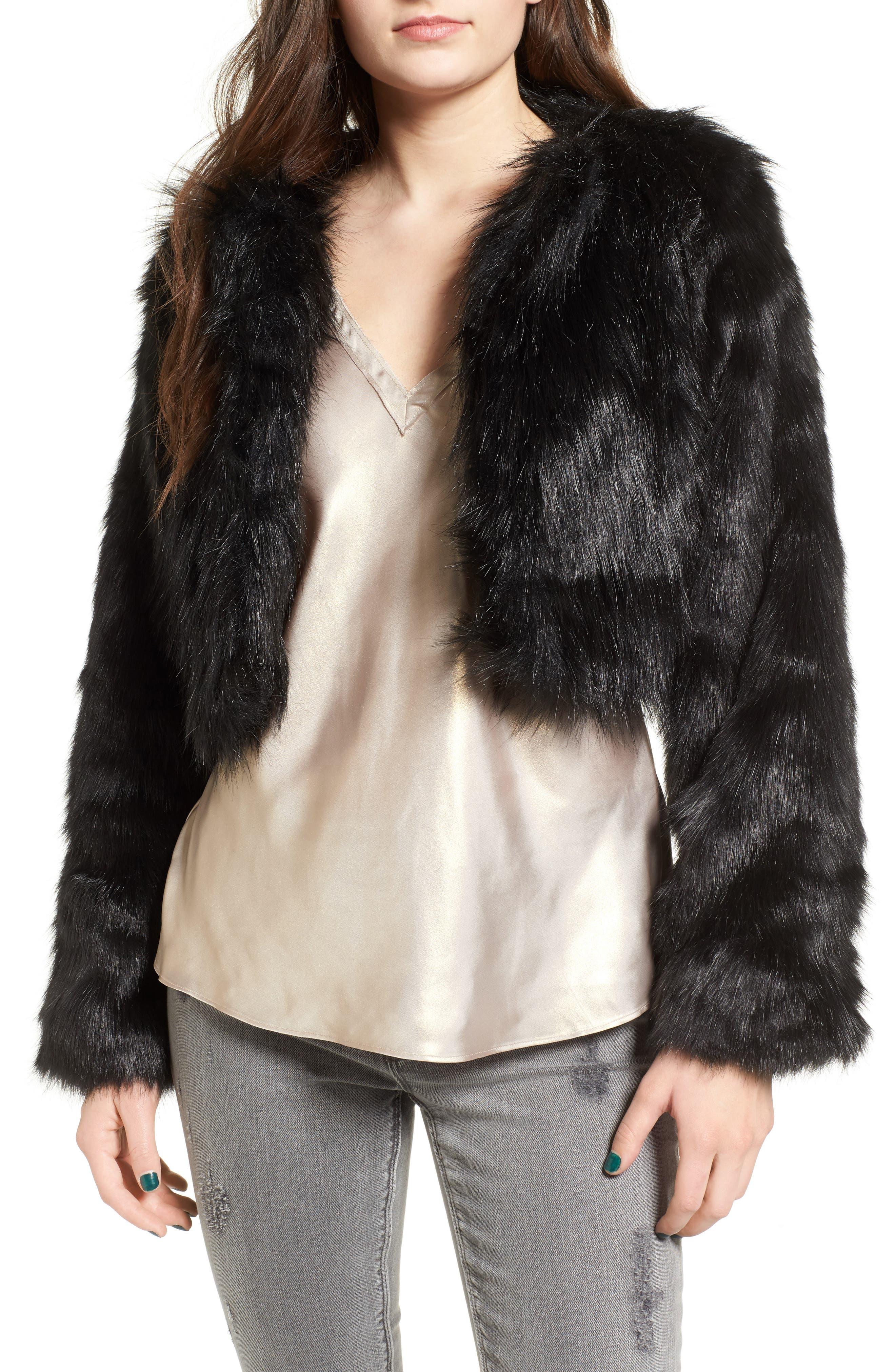 LOVE, FIRE Fire Faux Fur Jacket, Main, color, 001