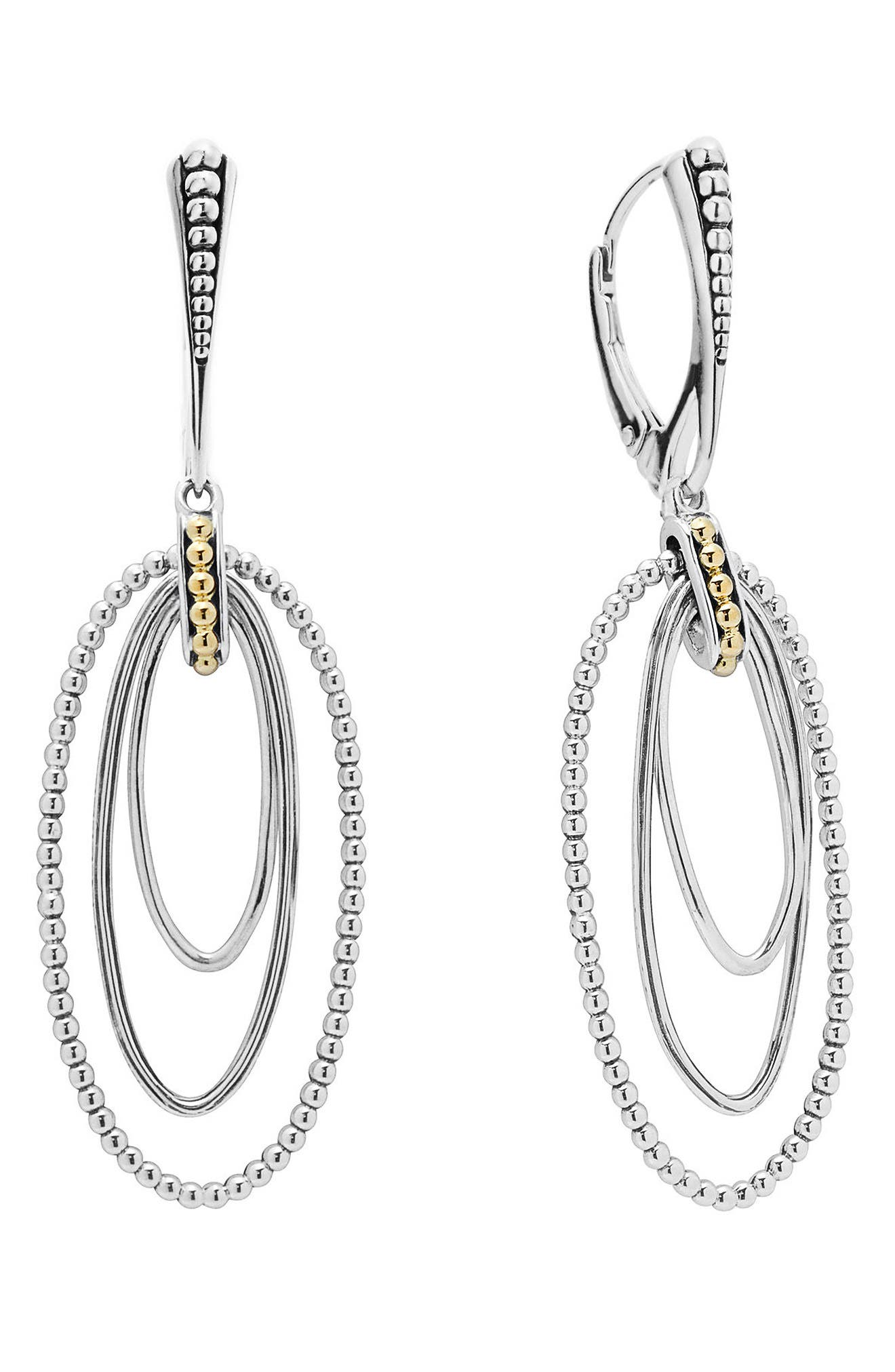 Caviar 'Superfine' Two-Tone Drop Earrings,                             Main thumbnail 1, color,                             SILVER/ GOLD