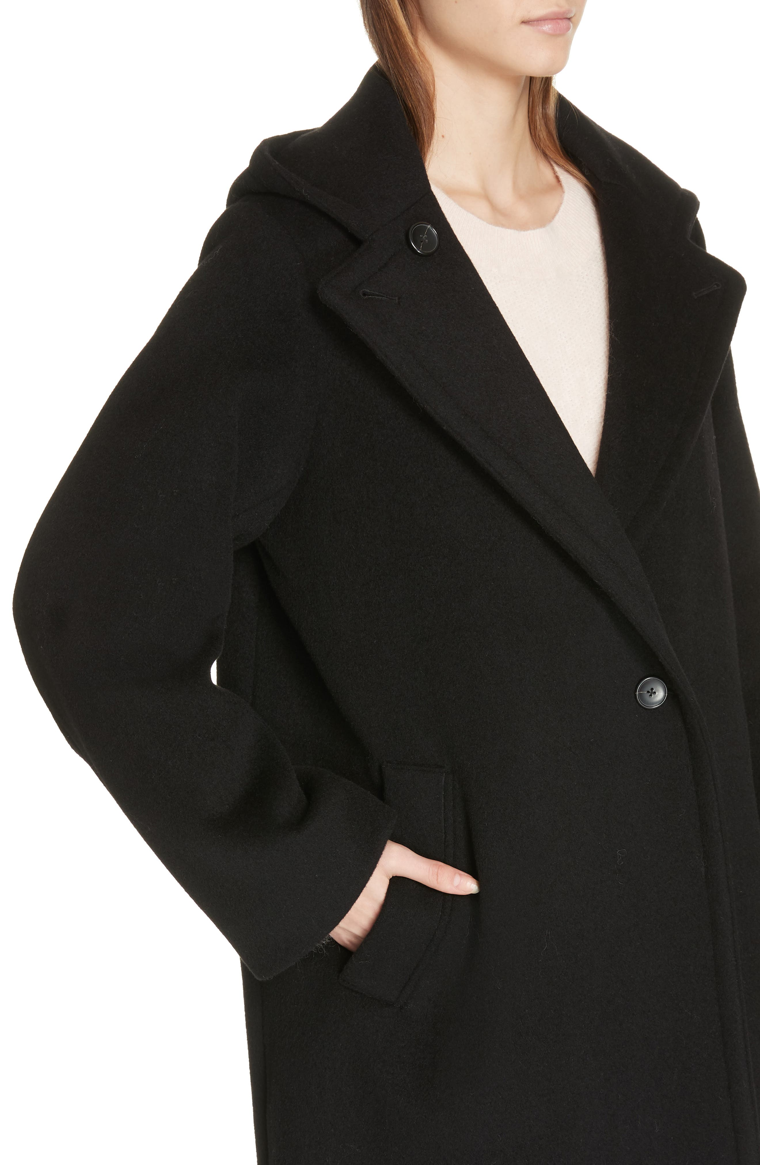 VINCE,                             Hooded Coat,                             Alternate thumbnail 4, color,                             BLACK
