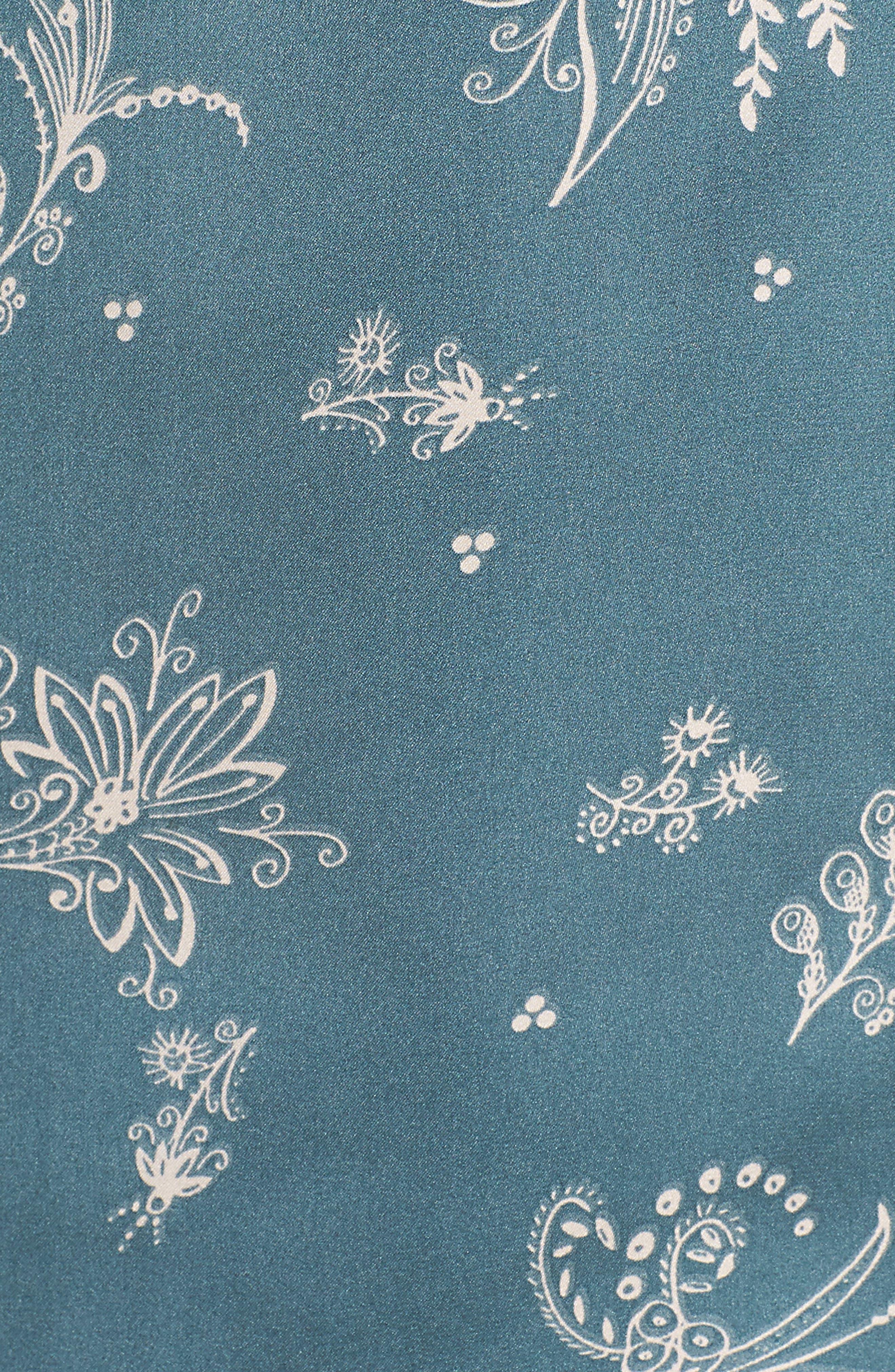 Satin Pajamas,                             Alternate thumbnail 5, color,                             BLUE GOBLIN FLIRTY FLORAL