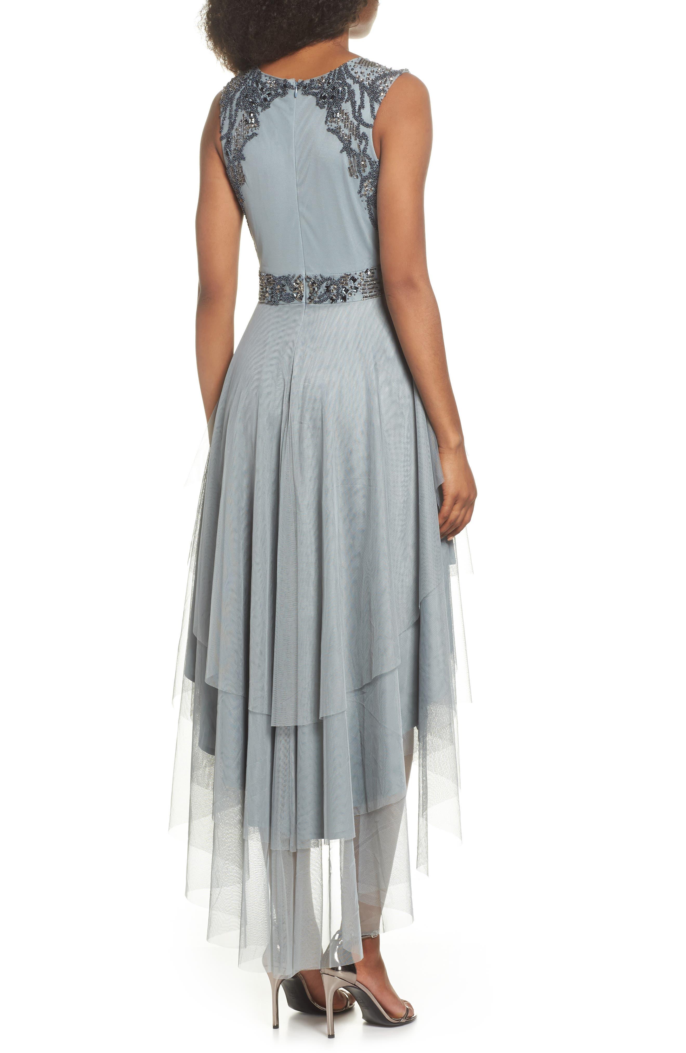 Bridget Embellished Tiered Tulle Dress,                             Alternate thumbnail 2, color,                             GREY