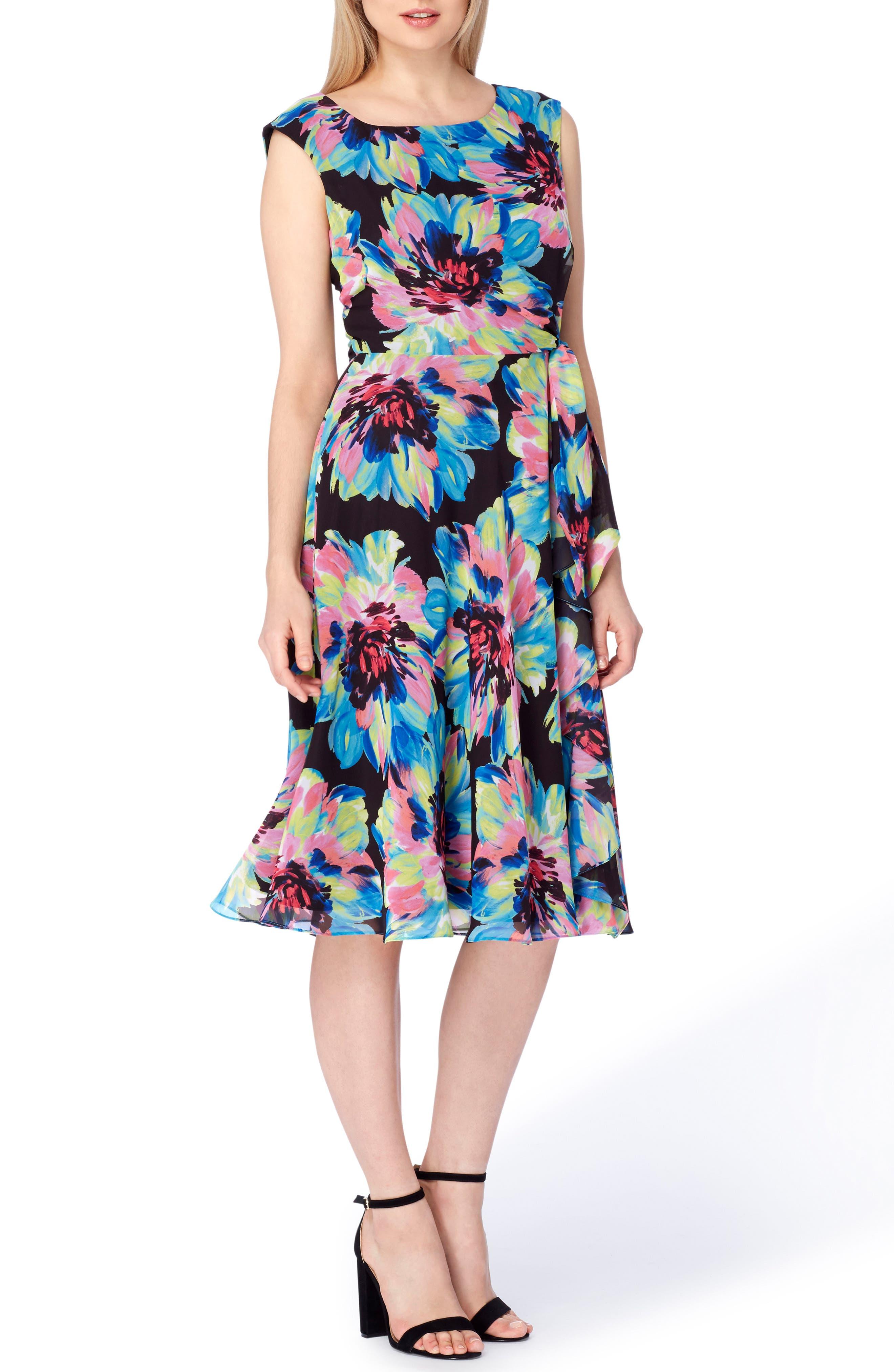 Floral Fit & Flare Dress,                             Main thumbnail 1, color,                             009
