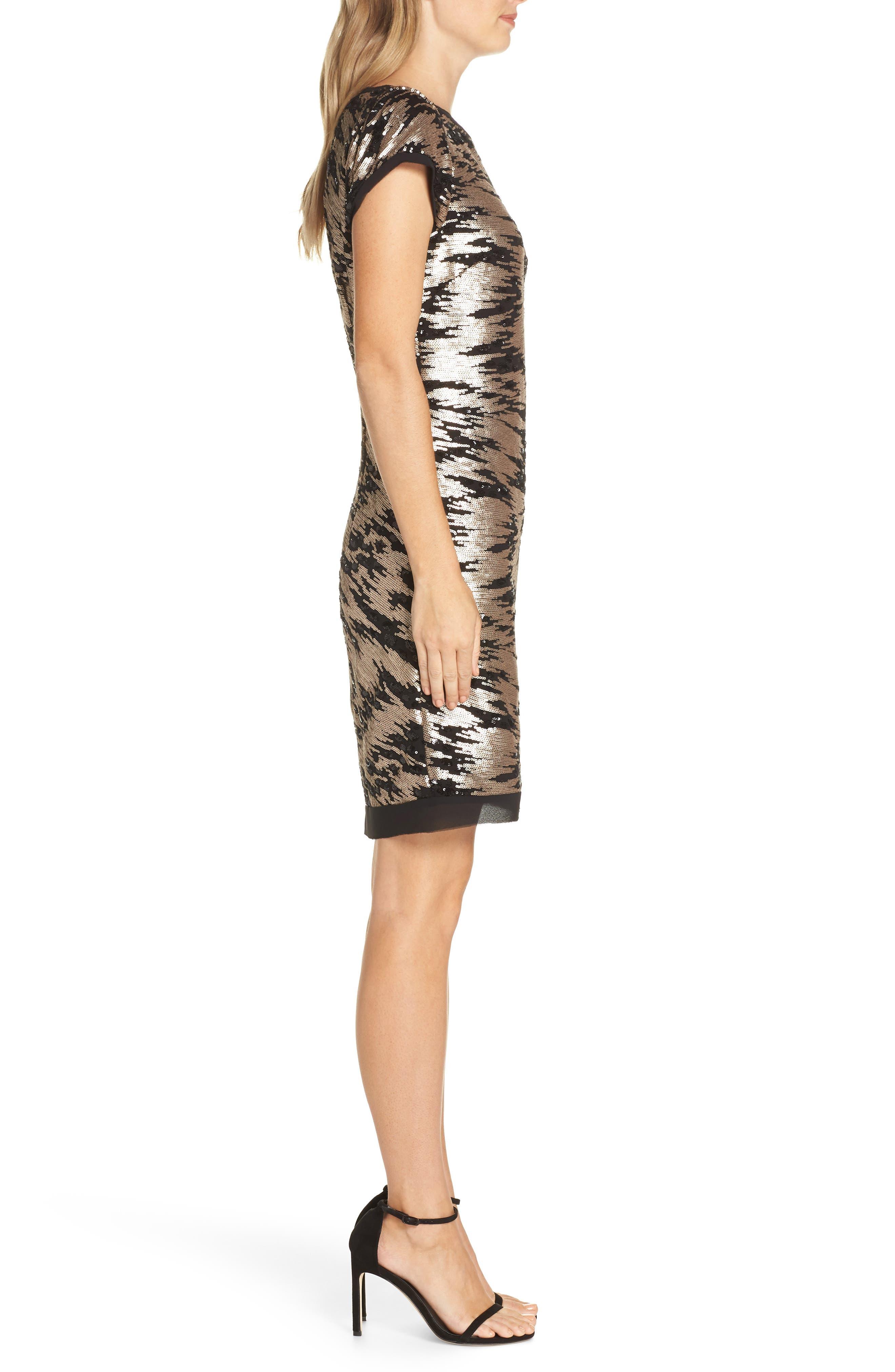 Sequin Sheath Dress,                             Alternate thumbnail 3, color,                             BLACK/ GOLD