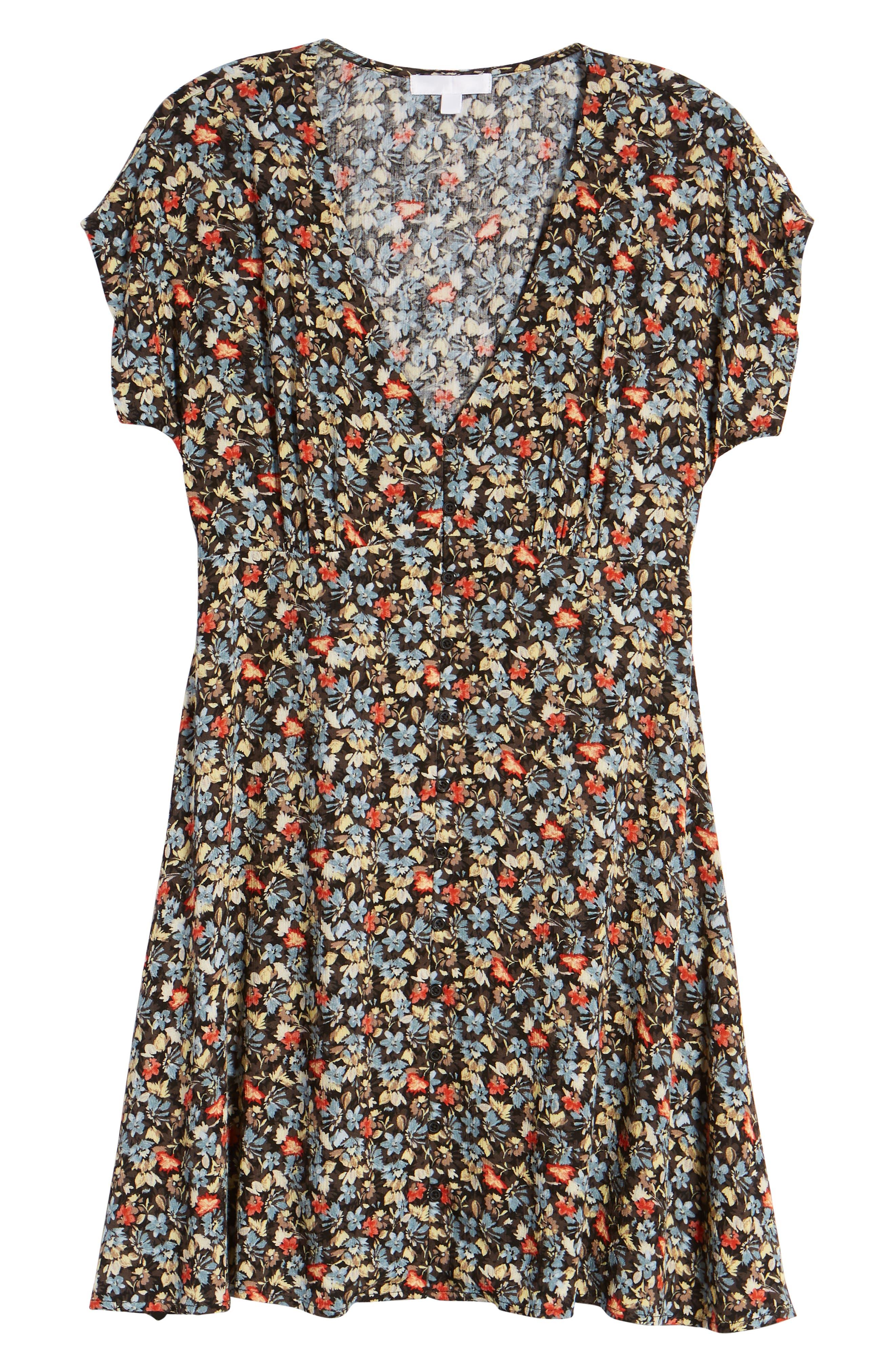 Floral Print Button Front Dress,                             Alternate thumbnail 7, color,                             BLACK GROUND FLORAL