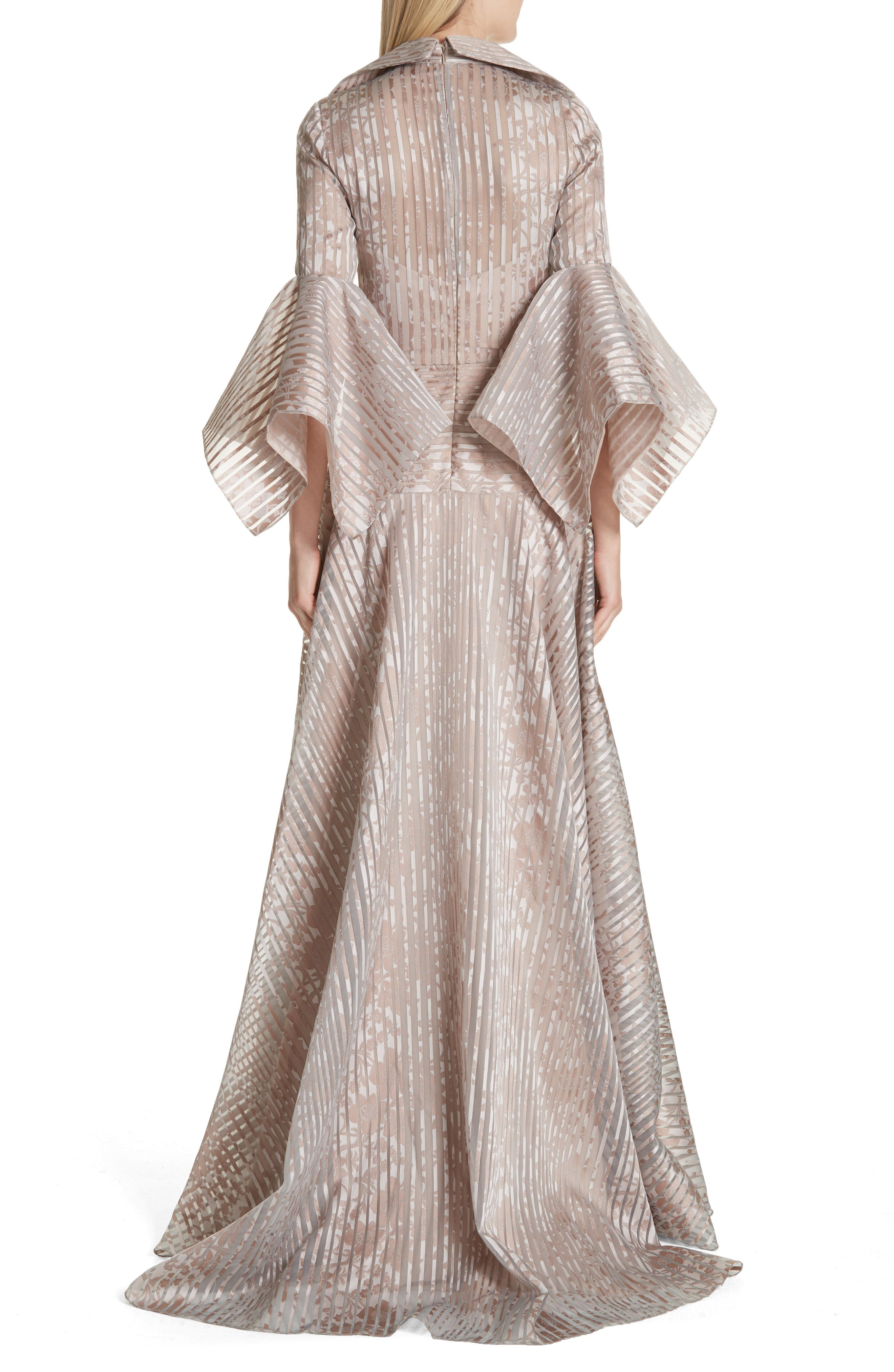 Platinum Metallic Texture Stripe Organza Gown,                             Alternate thumbnail 2, color,                             MAUVE