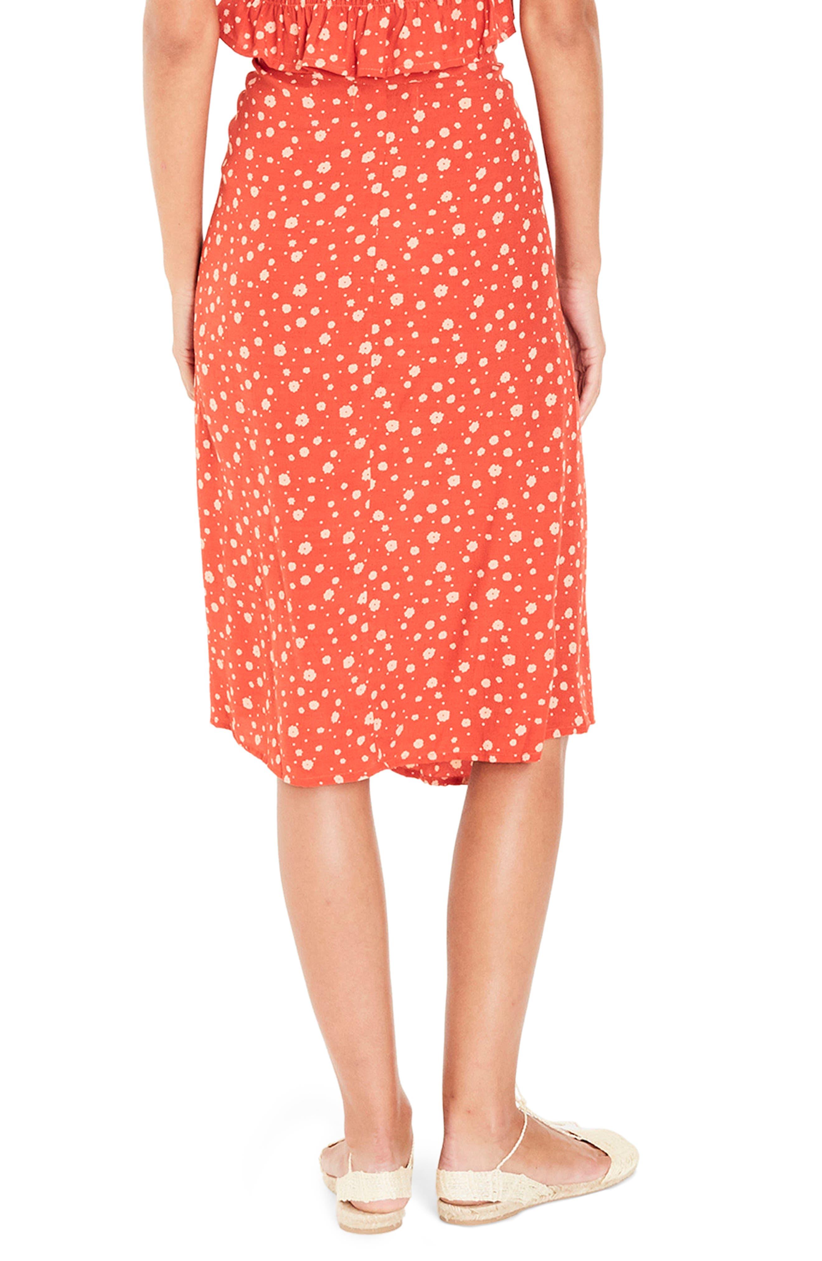 Linnie Wrap Skirt,                             Alternate thumbnail 2, color,                             CHERRY
