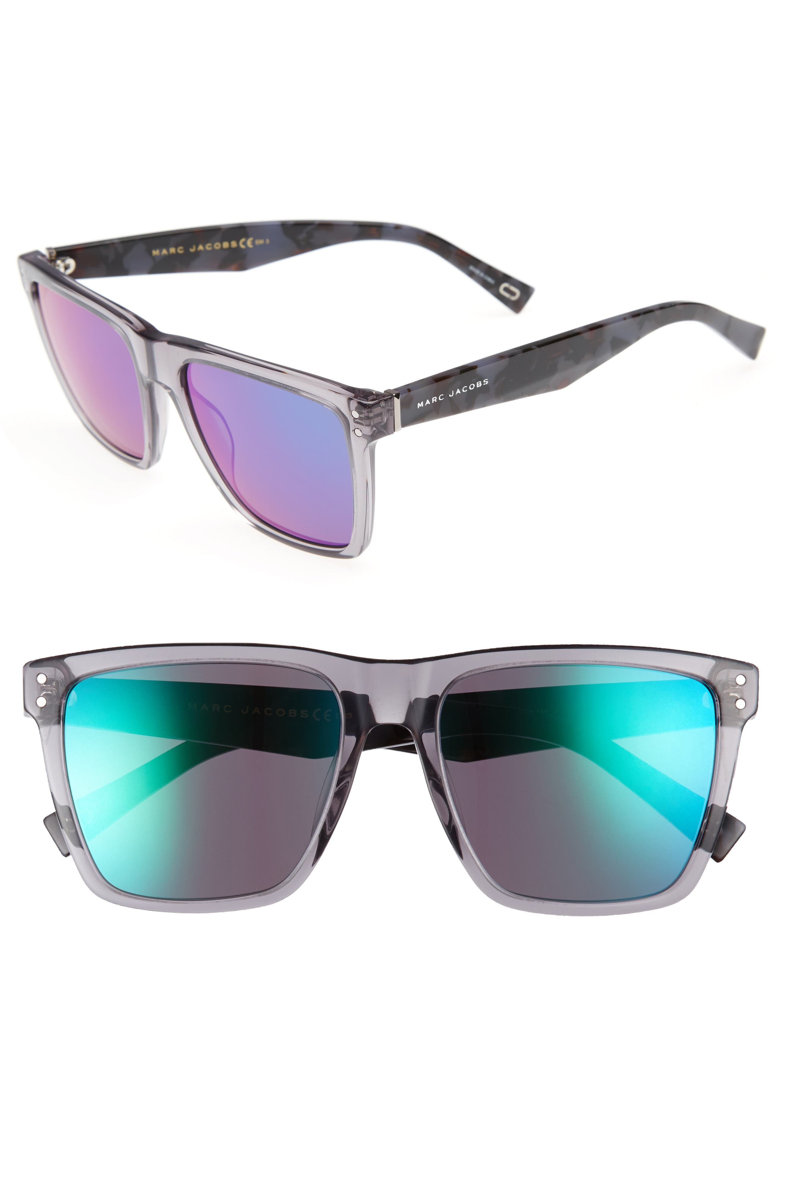 54mm Flat Top Gradient Square Frame Sunglasses,                         Main,                         color, GREY HAVANA