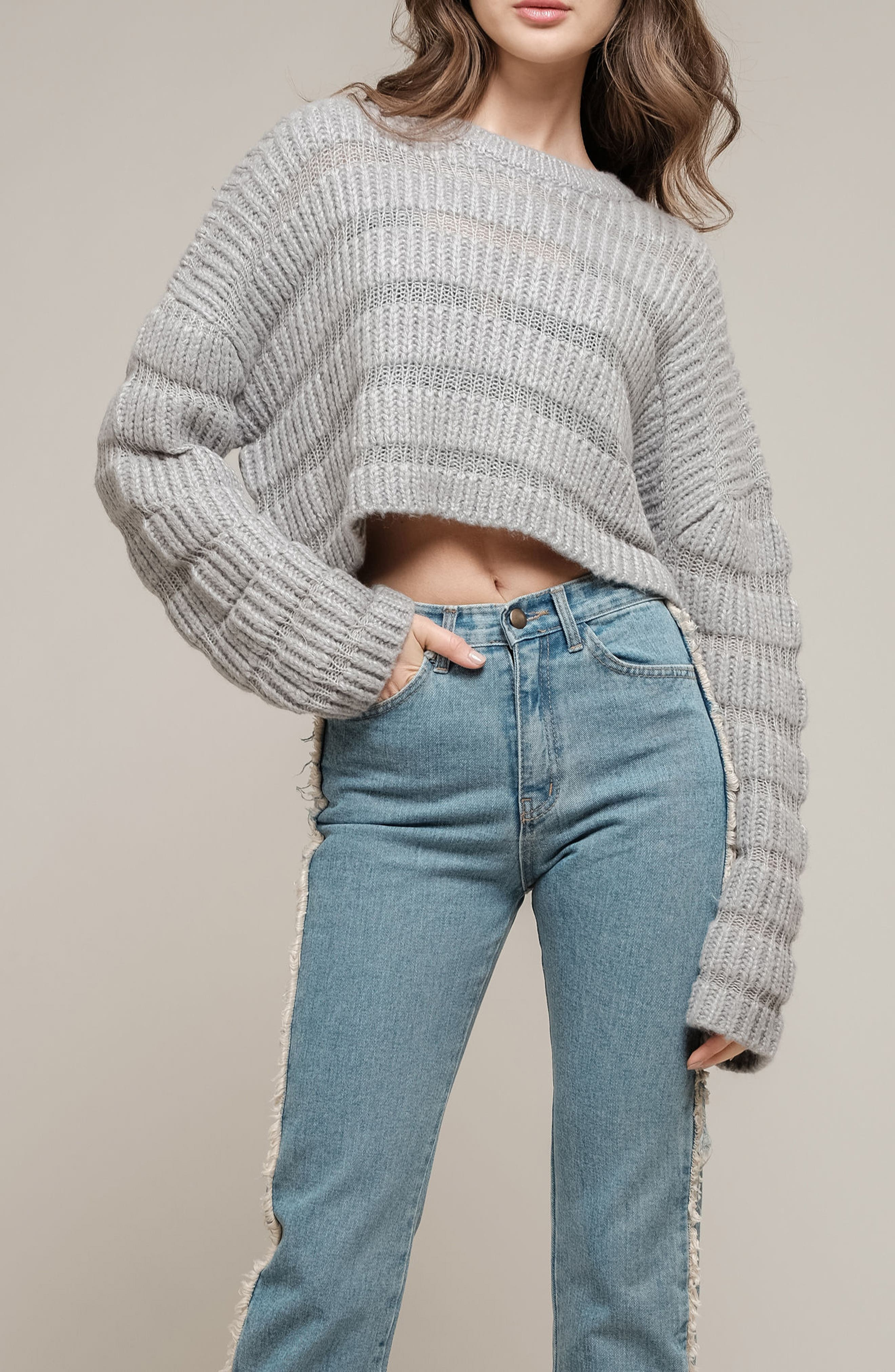 Textured Stripe Crop Sweater,                             Alternate thumbnail 7, color,