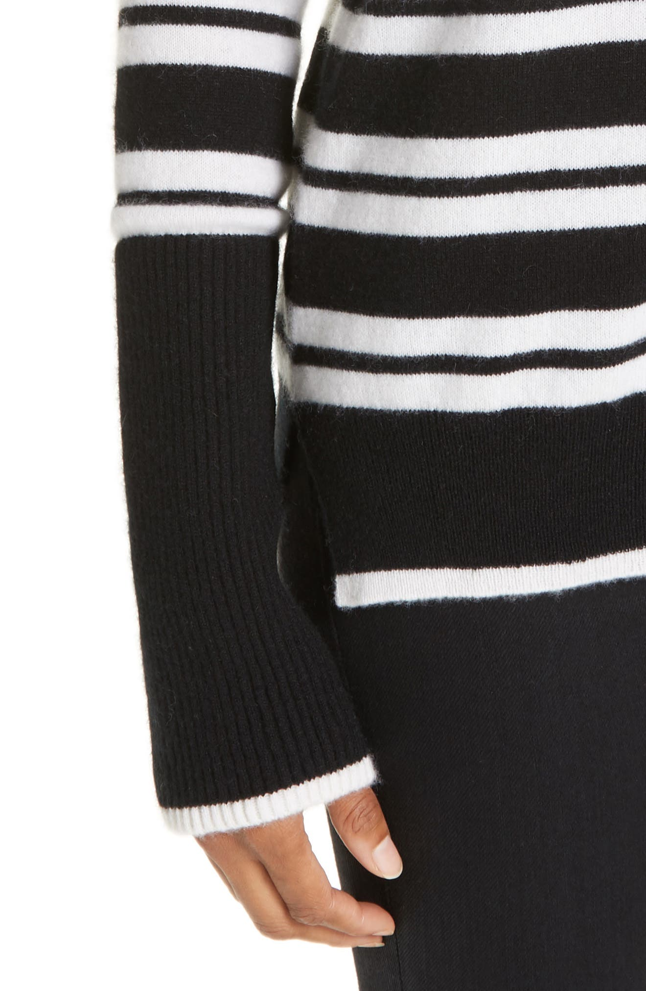 Le Ligne Tripe Stripe Cashmere Sweater,                             Alternate thumbnail 4, color,                             BLACK/ CREAM