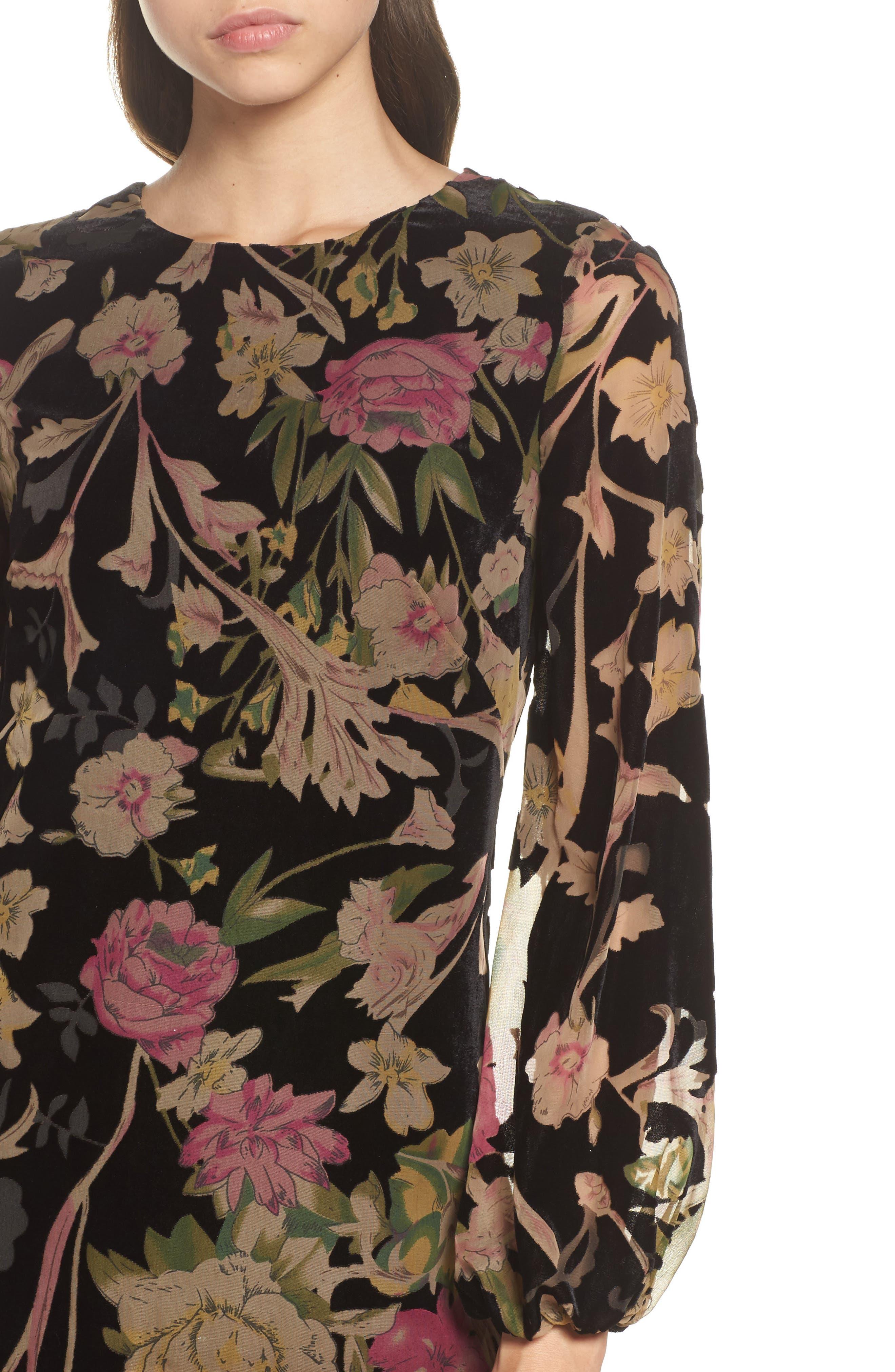 Floral Print Velvet Shift Dress,                             Alternate thumbnail 4, color,                             BLACK