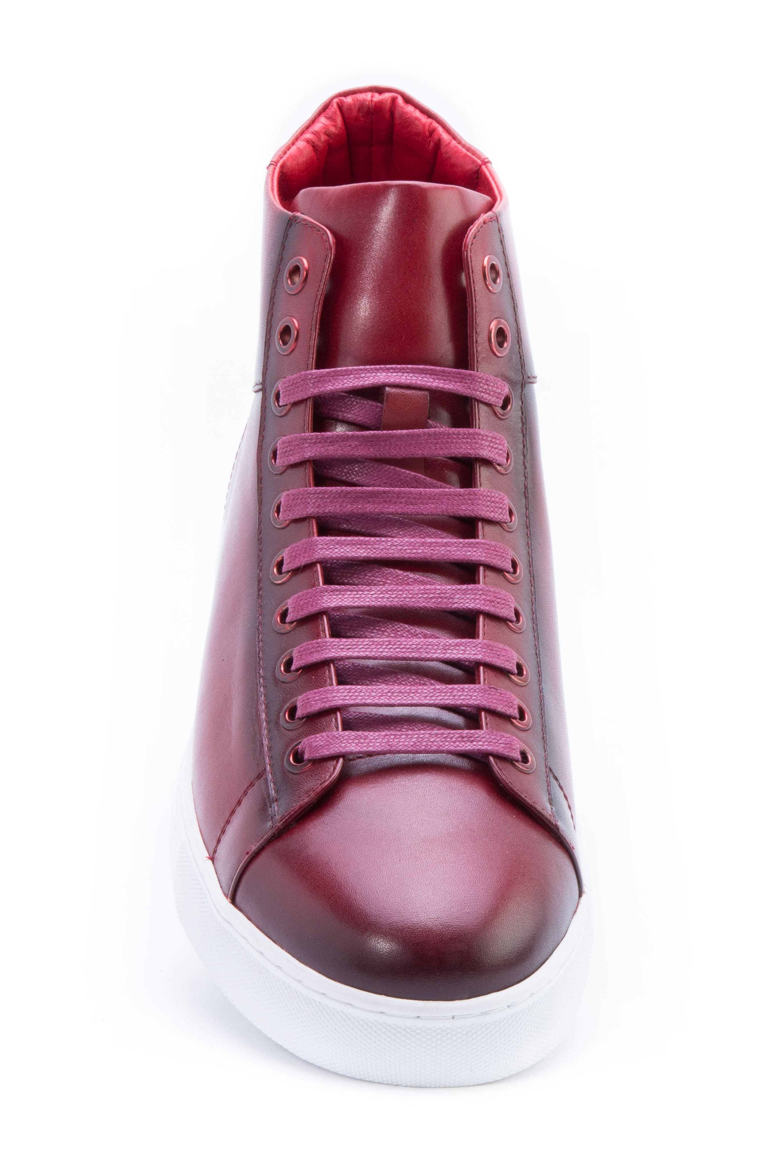Spinback High Top Sneaker,                             Alternate thumbnail 4, color,                             RED LEATHER