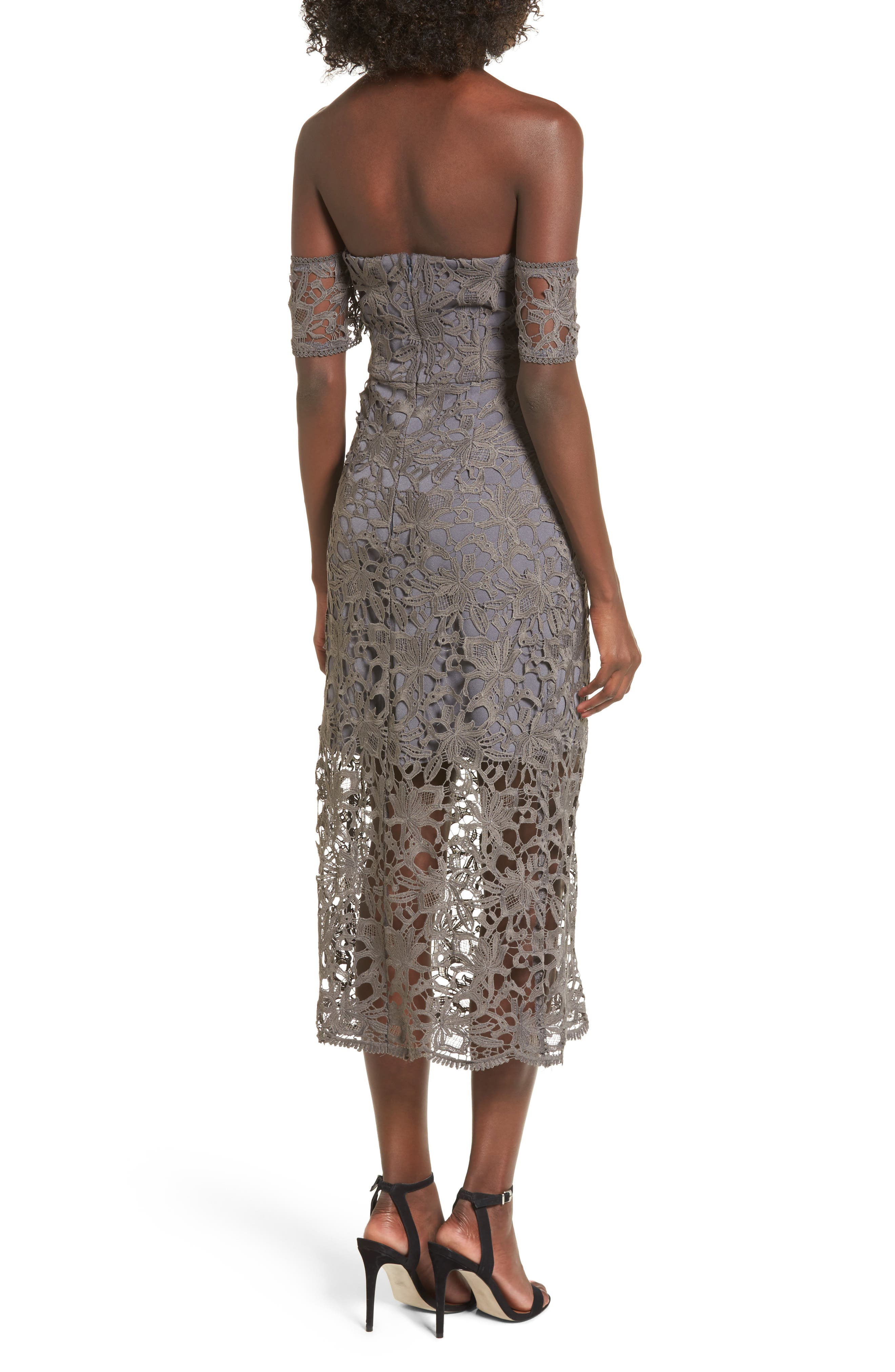 Off the Shoulder Lace Midi Dress,                             Alternate thumbnail 2, color,