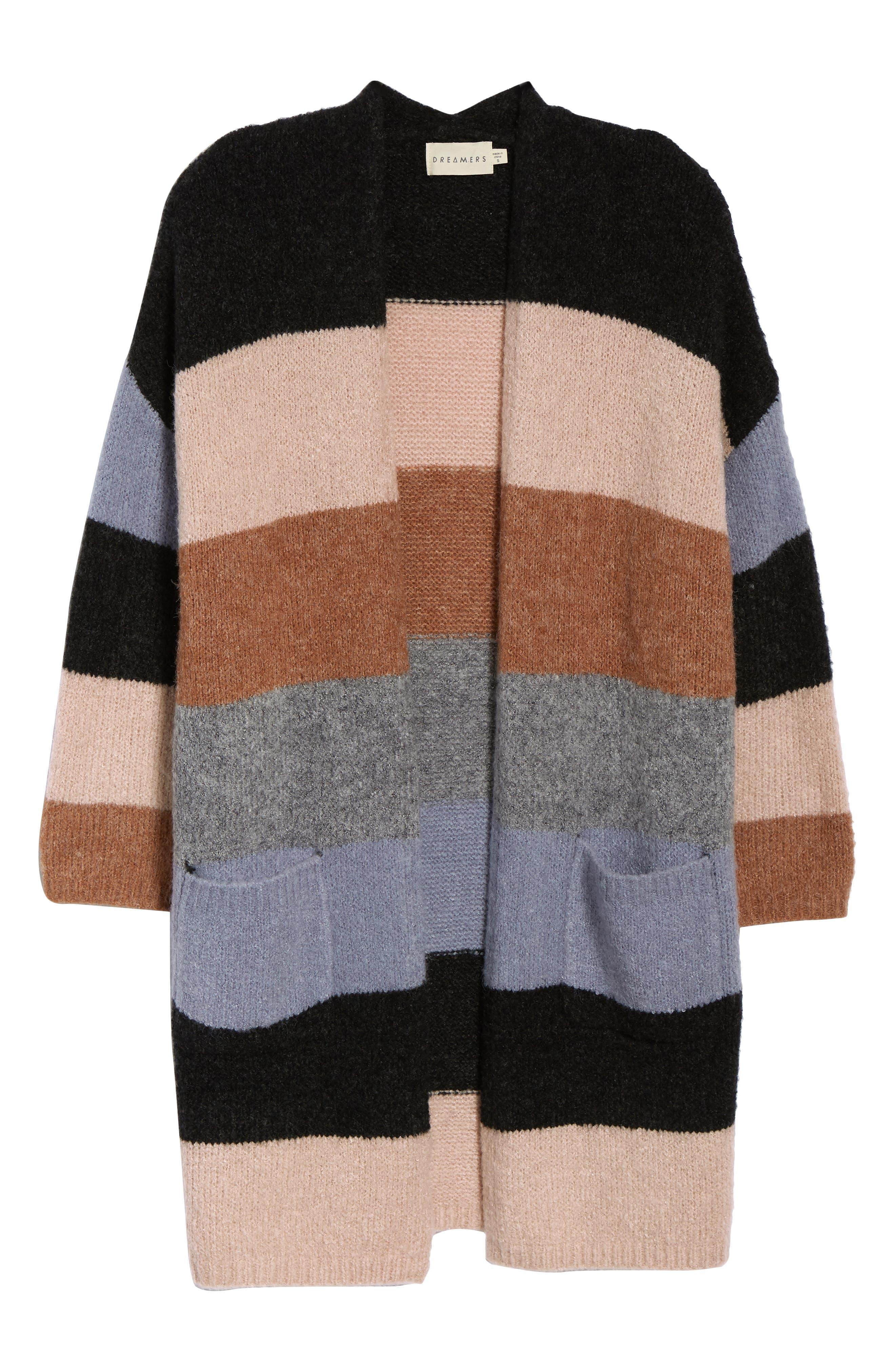 Stripe Long Cardigan,                             Alternate thumbnail 6, color,                             001