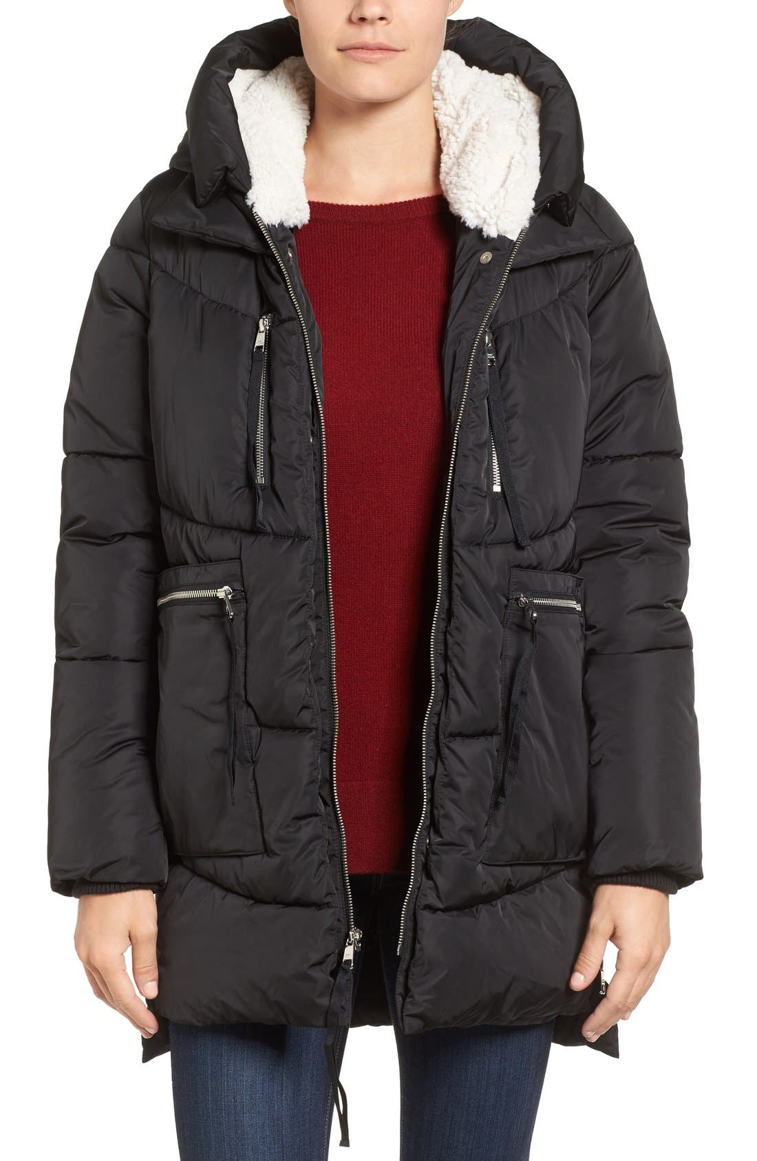Hooded Puffer Jacket with Faux Shearling Trim,                             Main thumbnail 2, color,