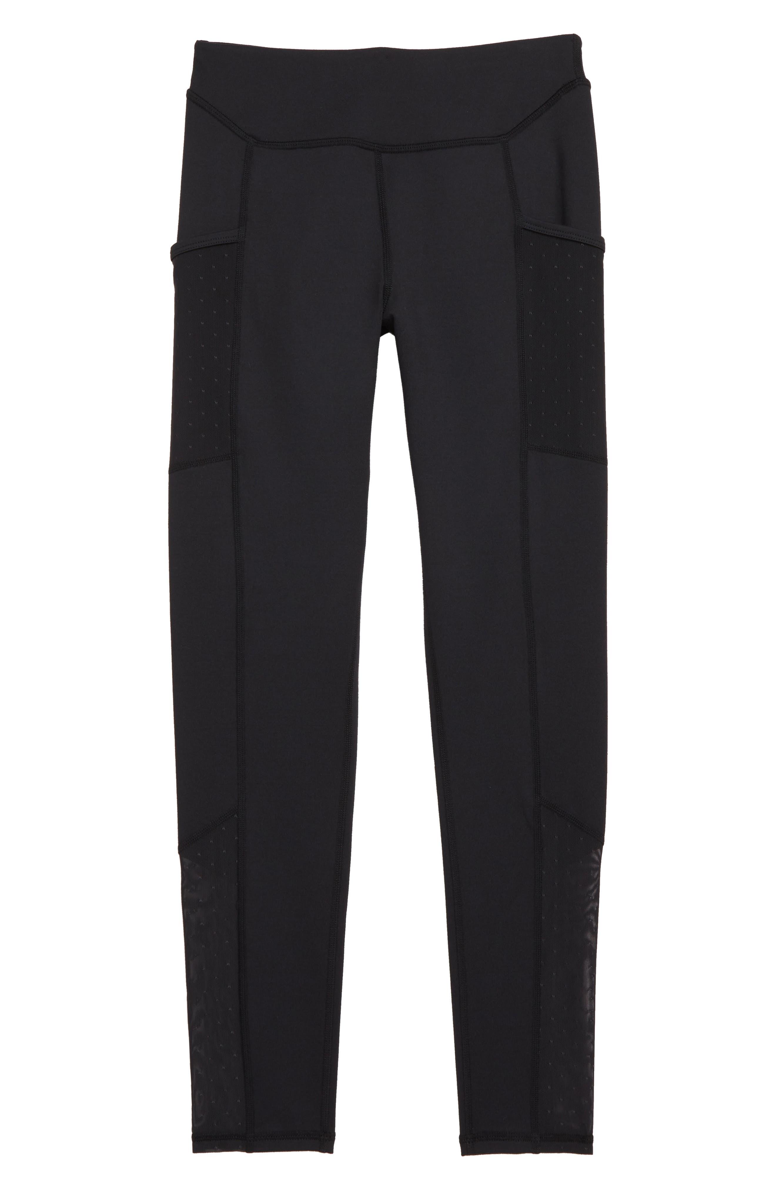 High Waist Mesh Pocket Leggings,                         Main,                         color, BLACK