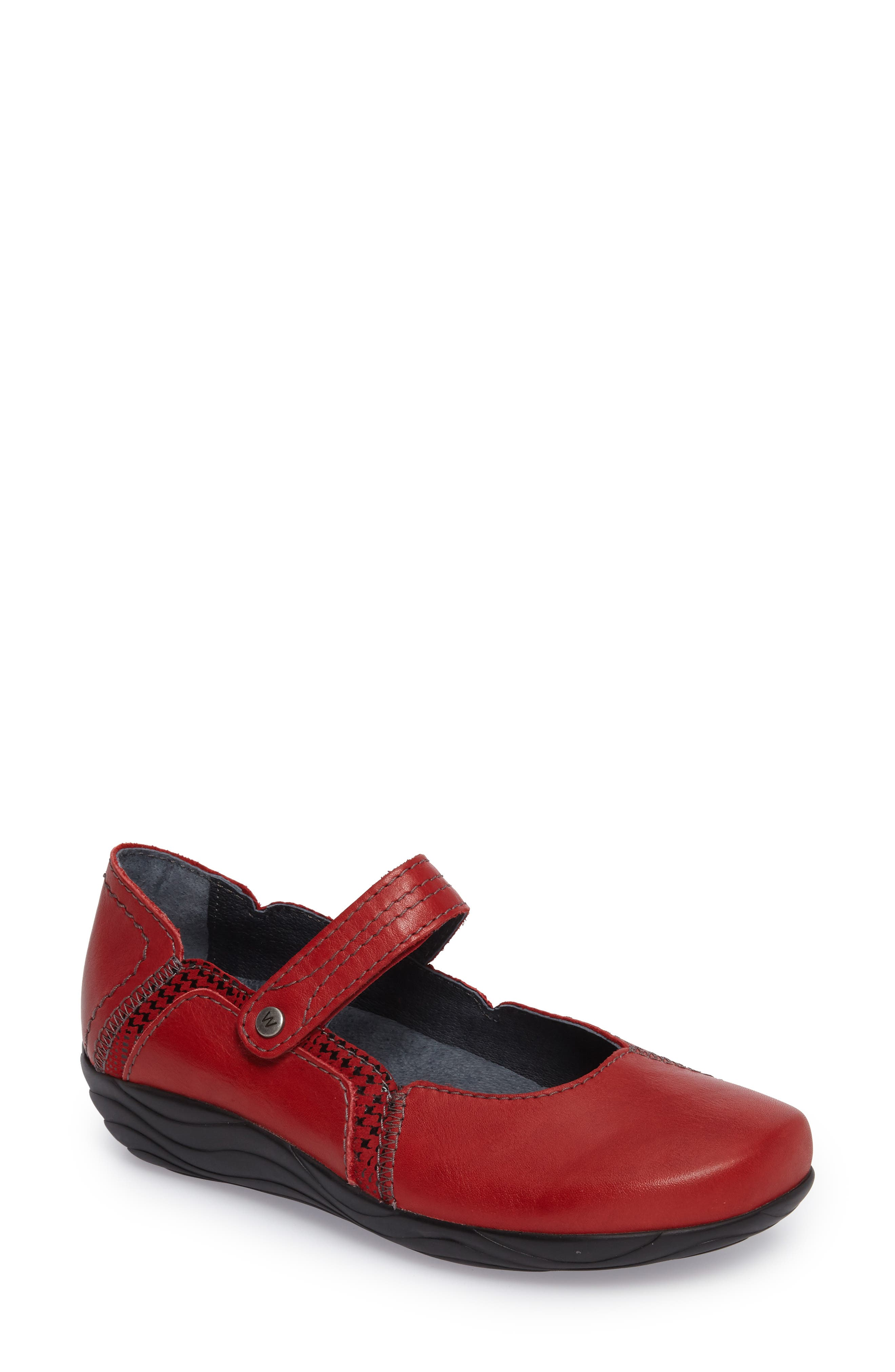 Gila Mary-Jane Flat,                             Main thumbnail 1, color,                             RED LEATHER