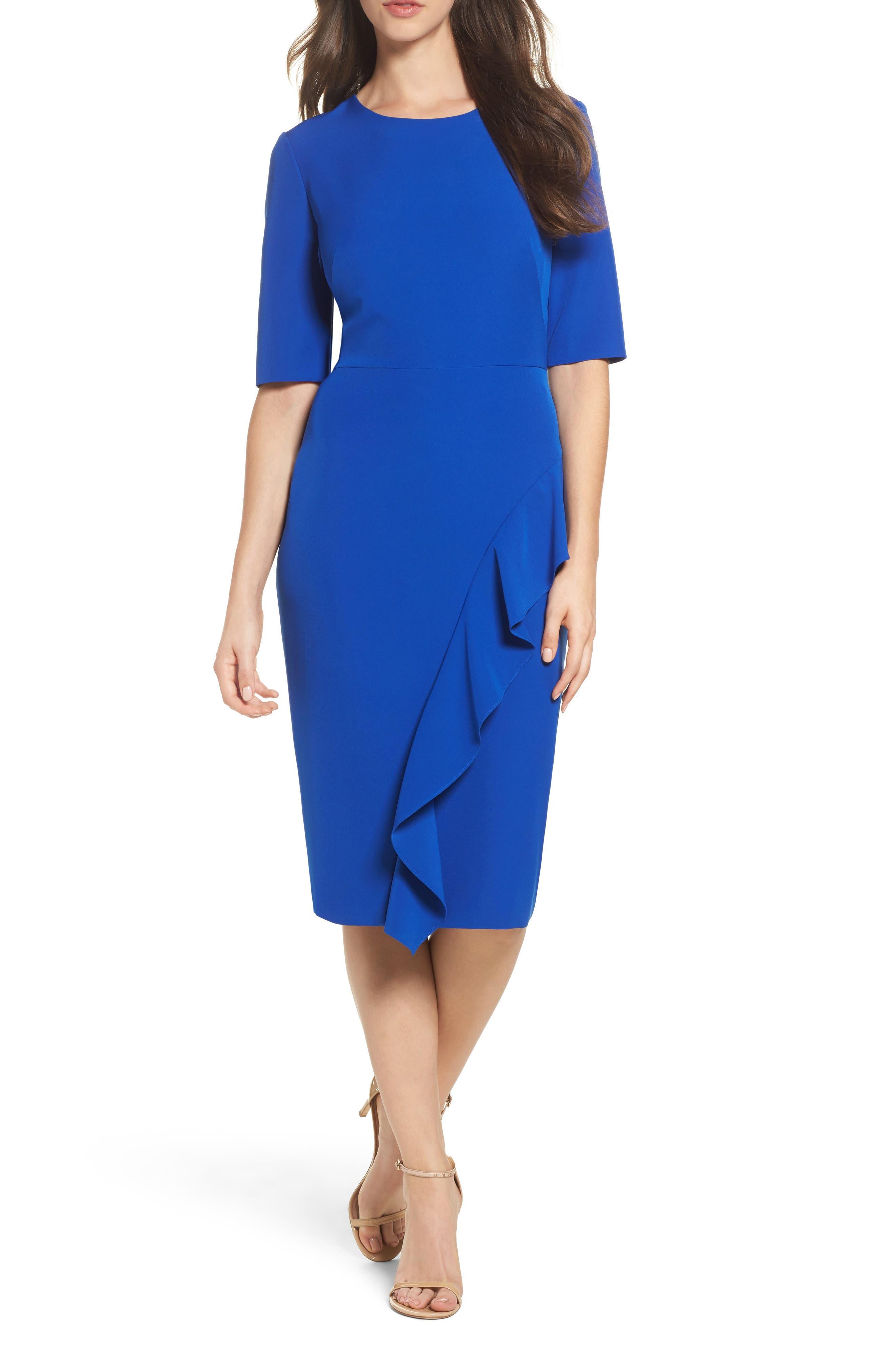 Ruffle Crepe Sheath Dress,                             Main thumbnail 1, color,                             401