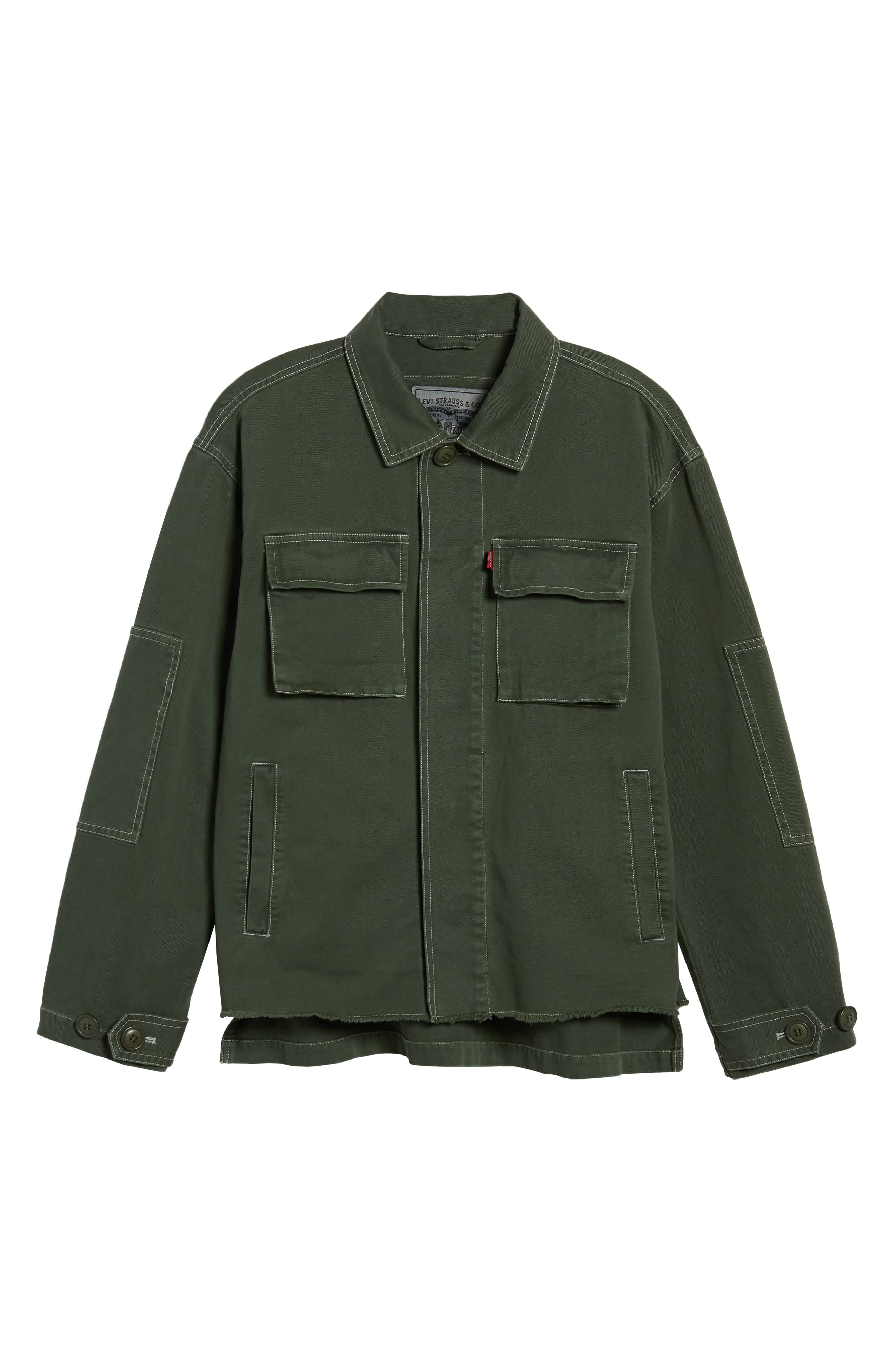 Cotton Shirt Jacket,                             Alternate thumbnail 5, color,                             OLIVE