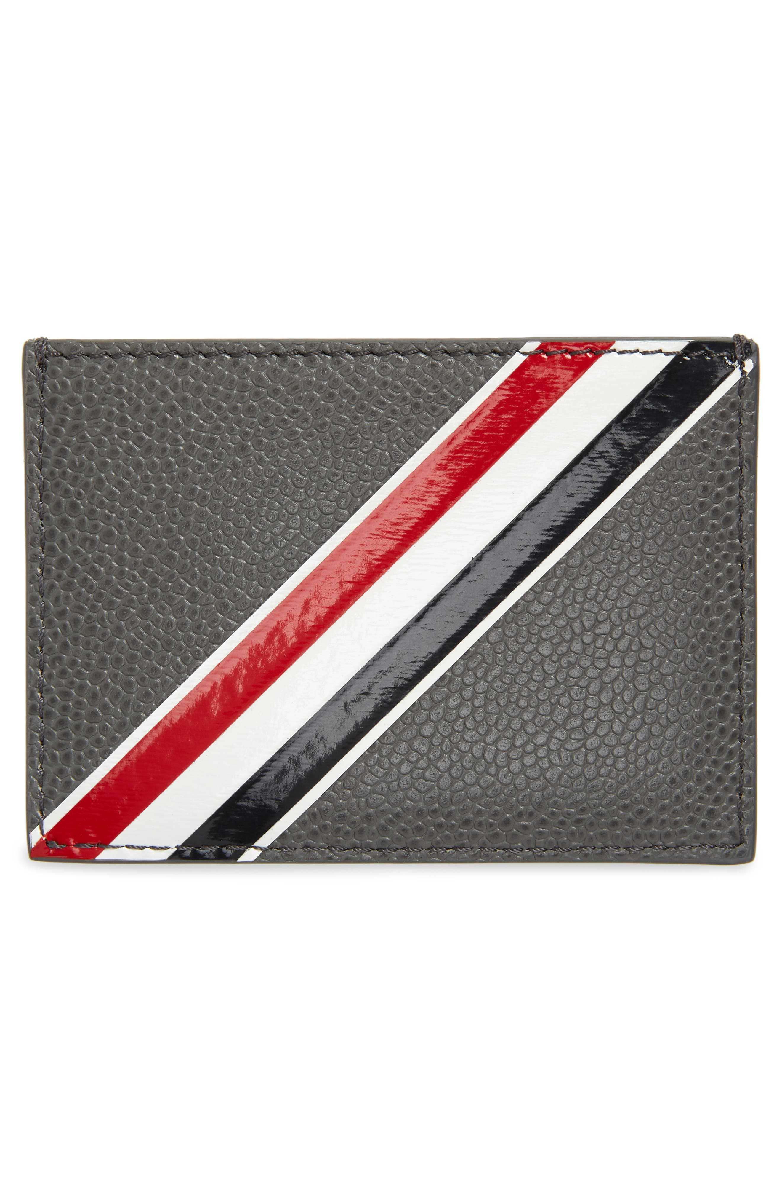 Stripe Leather Card Holder,                             Alternate thumbnail 2, color,                             025