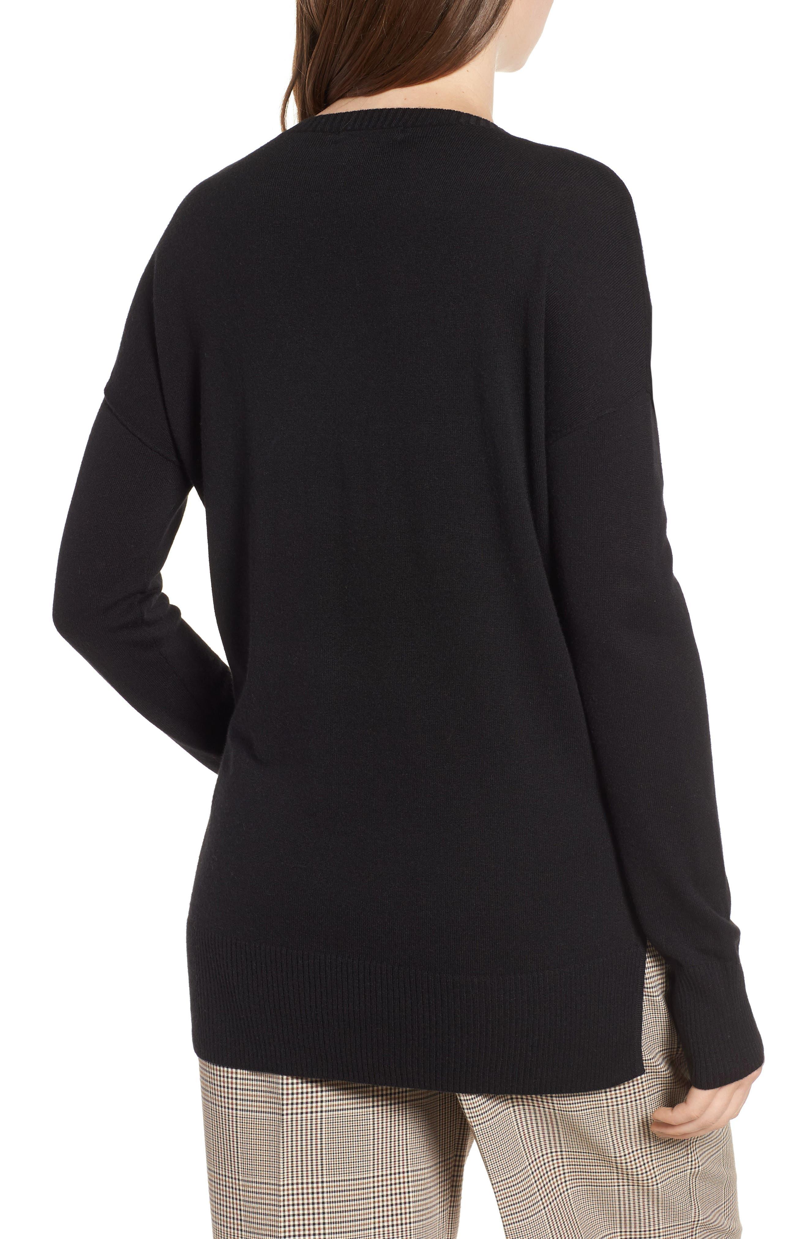 Side Slit Sweater,                             Alternate thumbnail 2, color,                             001