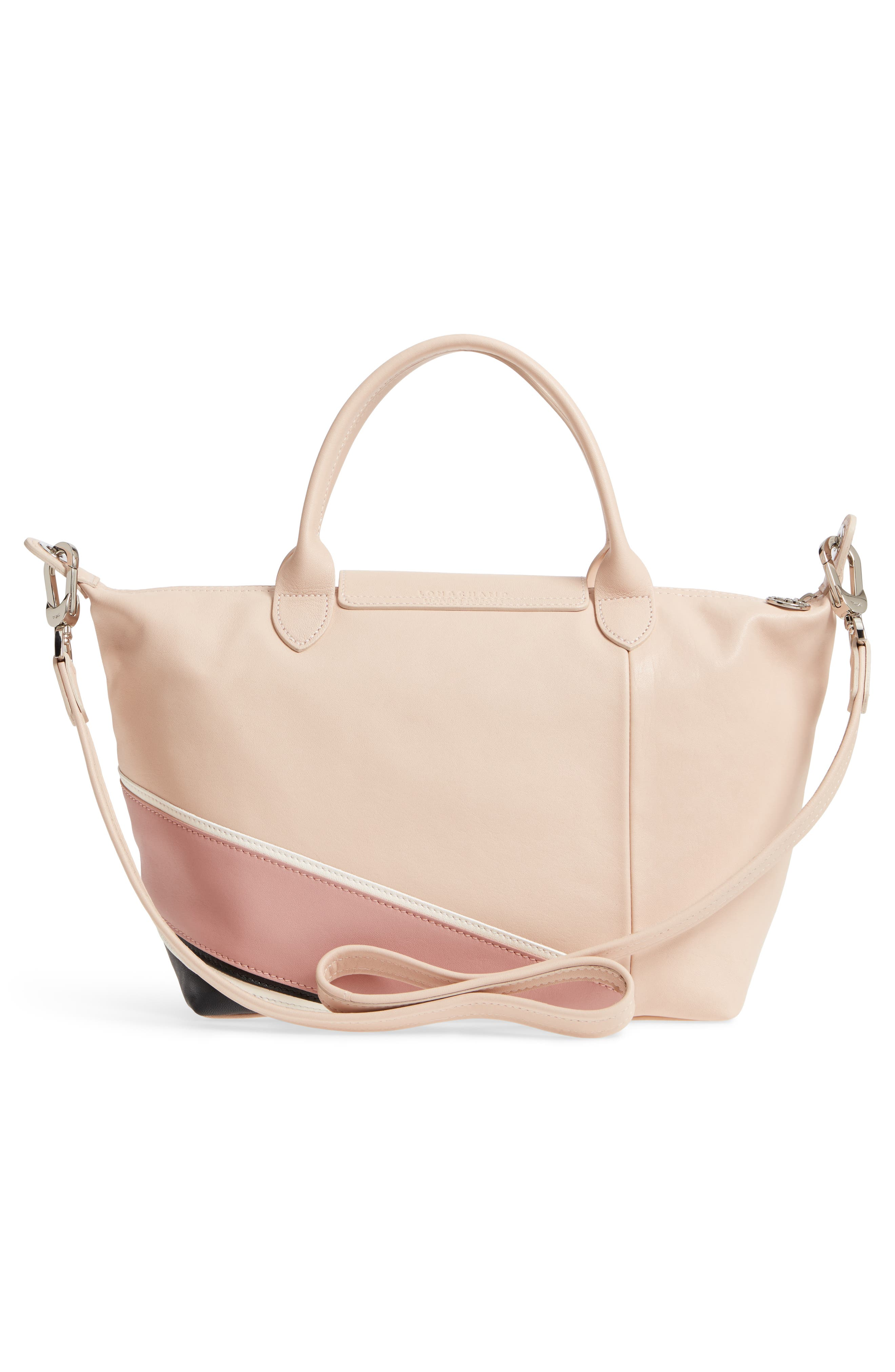 Small Le Pliage Cuir - Chevron Leather Top Handle Tote,                             Alternate thumbnail 3, color,