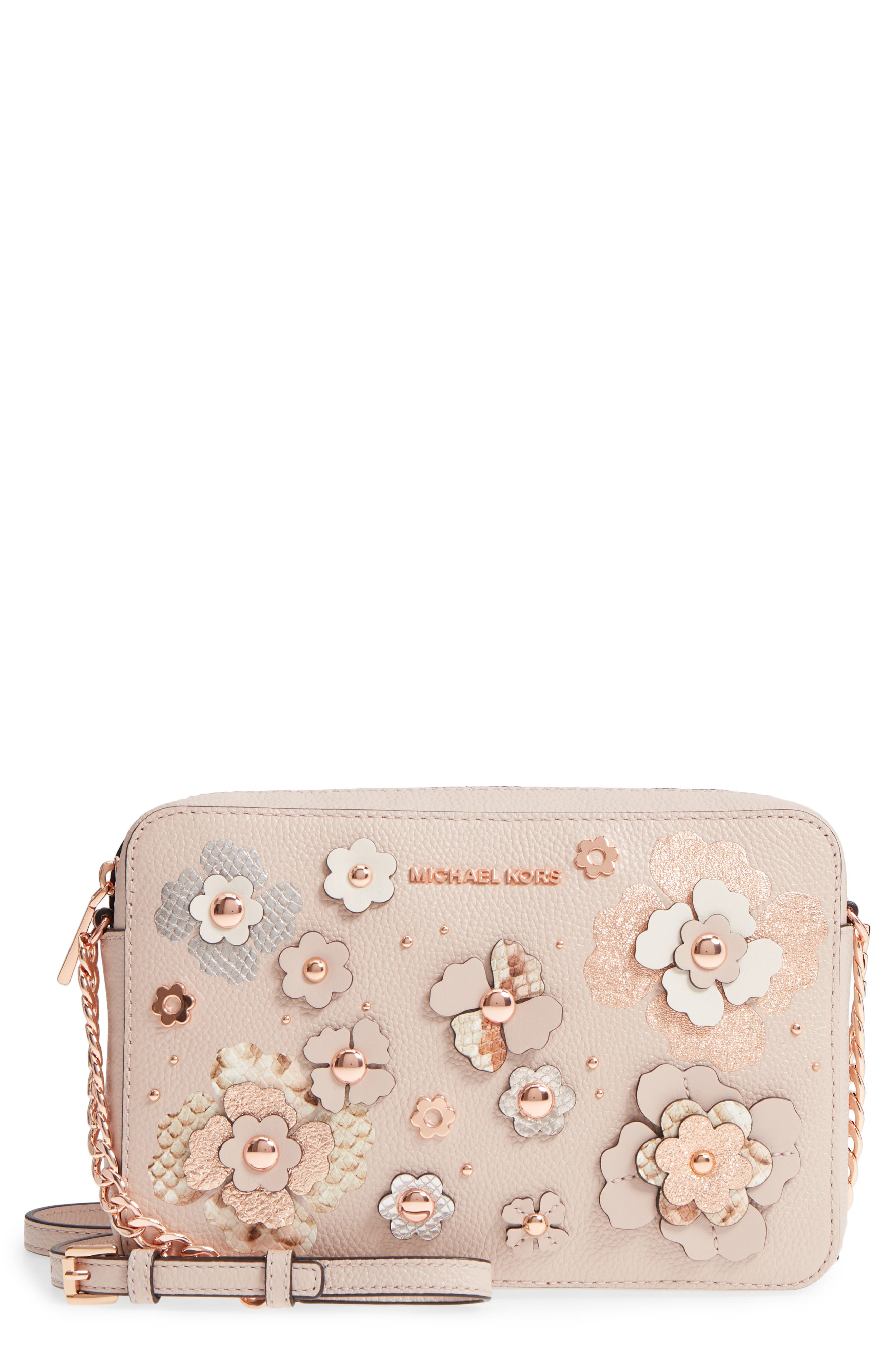 MICHAEL Michael Kors Jet Set Floral Embellished Leather Crossbody Bag,                             Main thumbnail 1, color,                             650